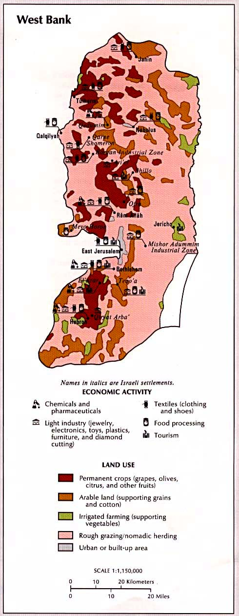 West Bank Economic Activity and Land Use Map