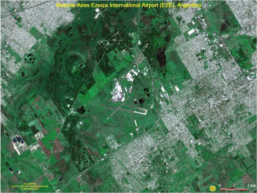 Satellite Image, Photo of Buenos Aires International Airport, Argentina