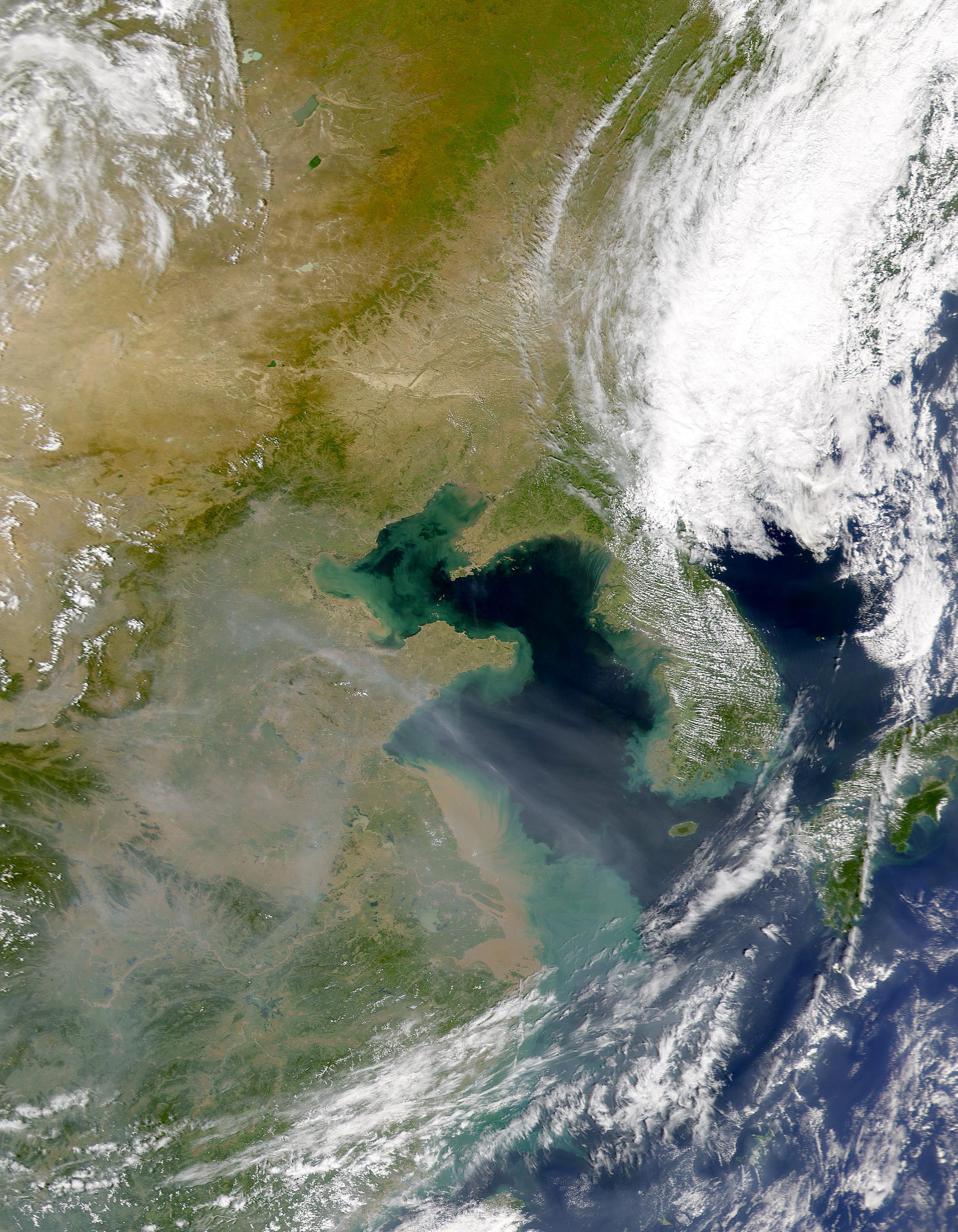 Aerosoles encima de los sedimentos del Mar Amarillo
