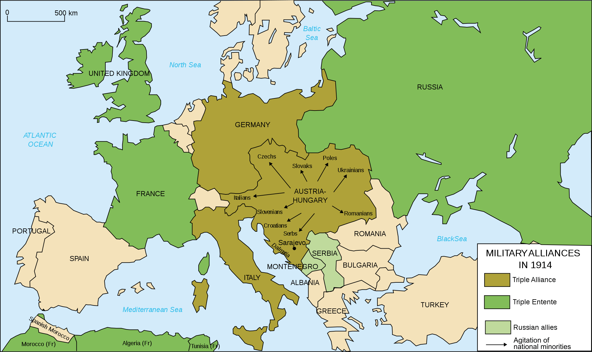 Europe's military alliances in World War I, 1914