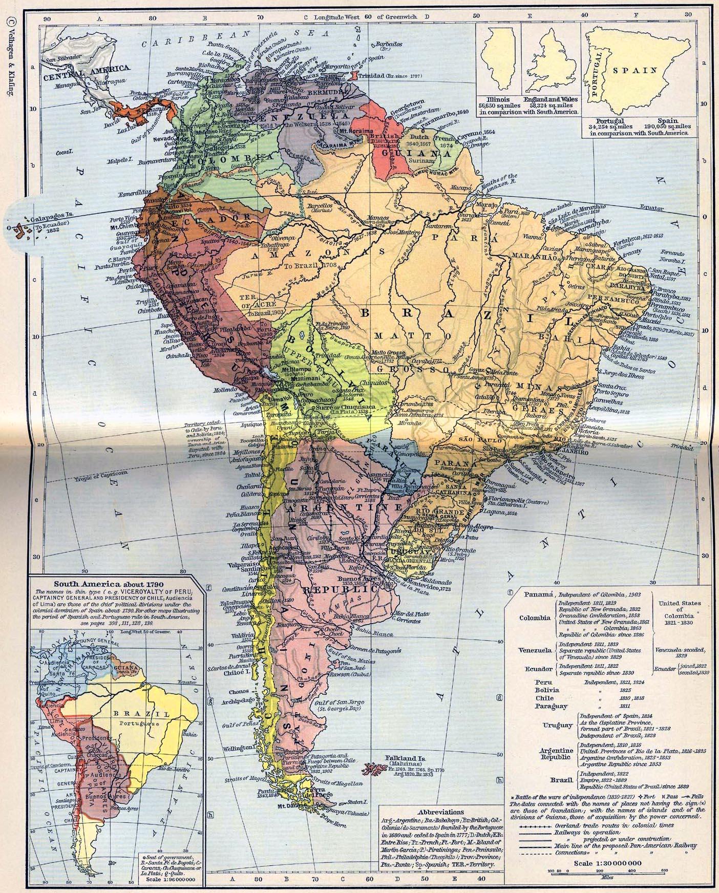 South America circa 1790
