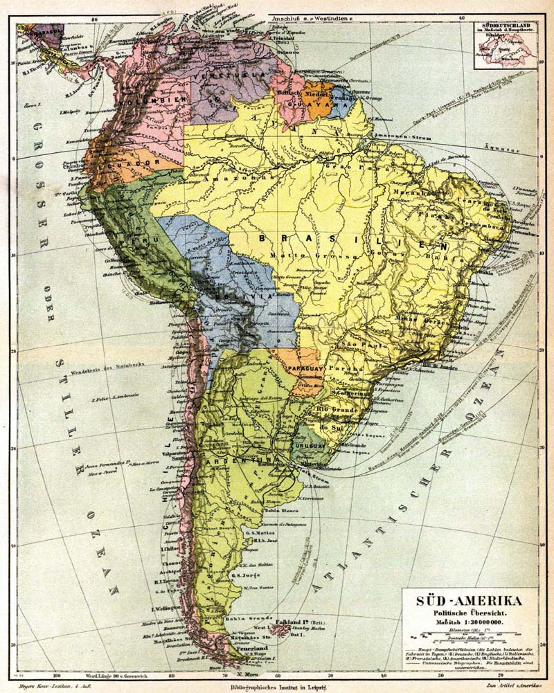 Maps of South America in 1888 - mapa.owje.com