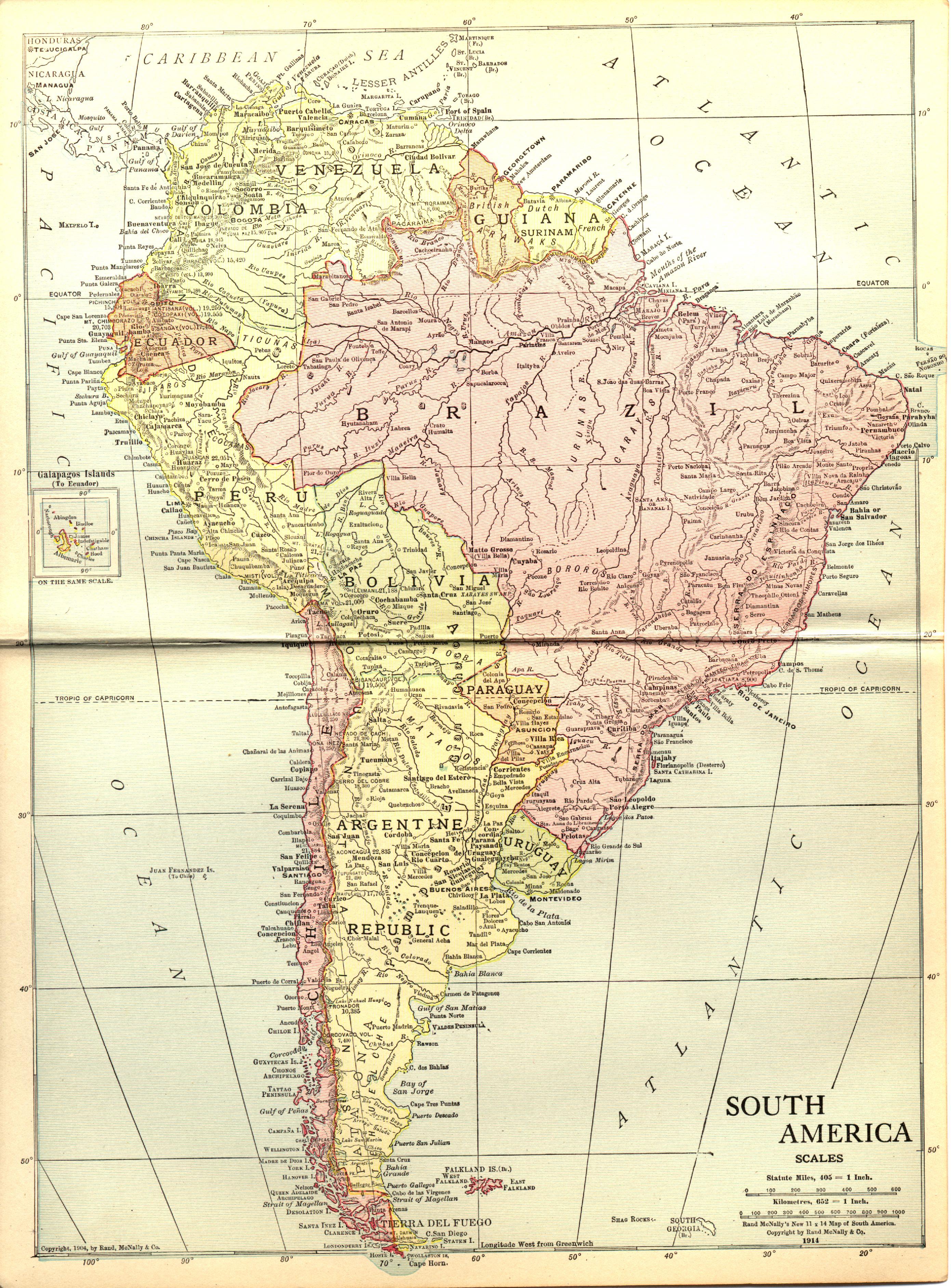 América del Sur en 1914