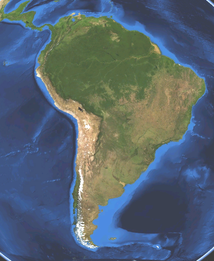 Satellite map of South America