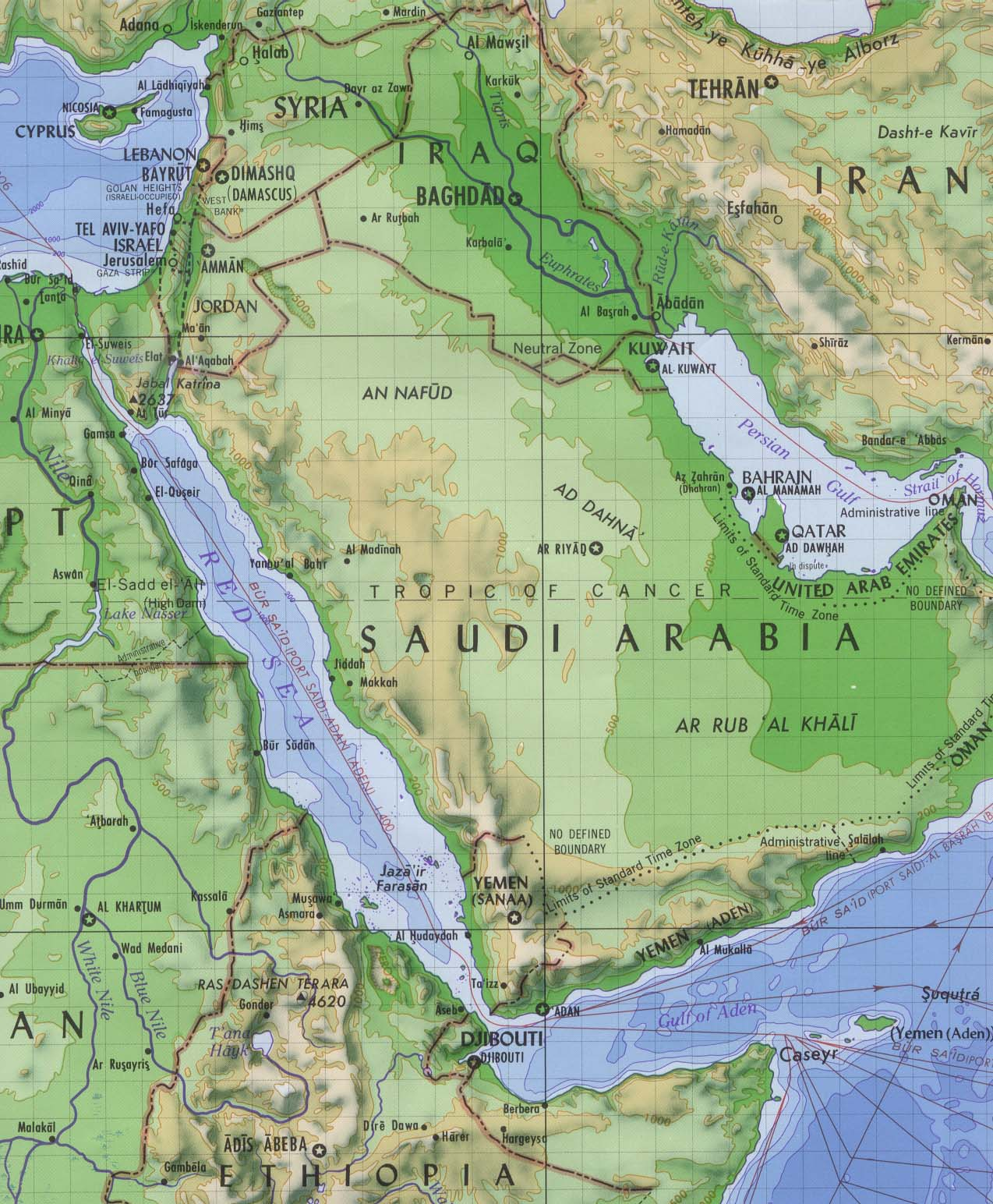 Red Sea Shaded Relief Map
