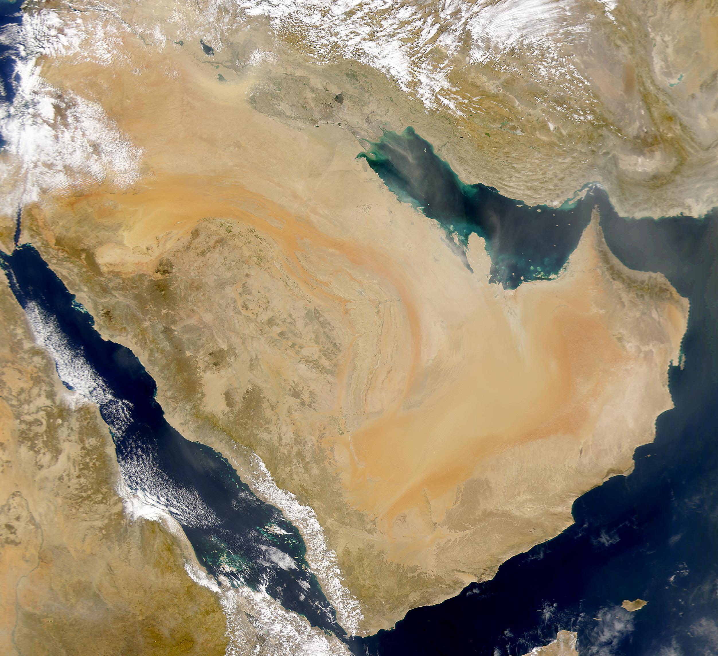 Arabia Saudita y polvareda encima del golfo Pérsico