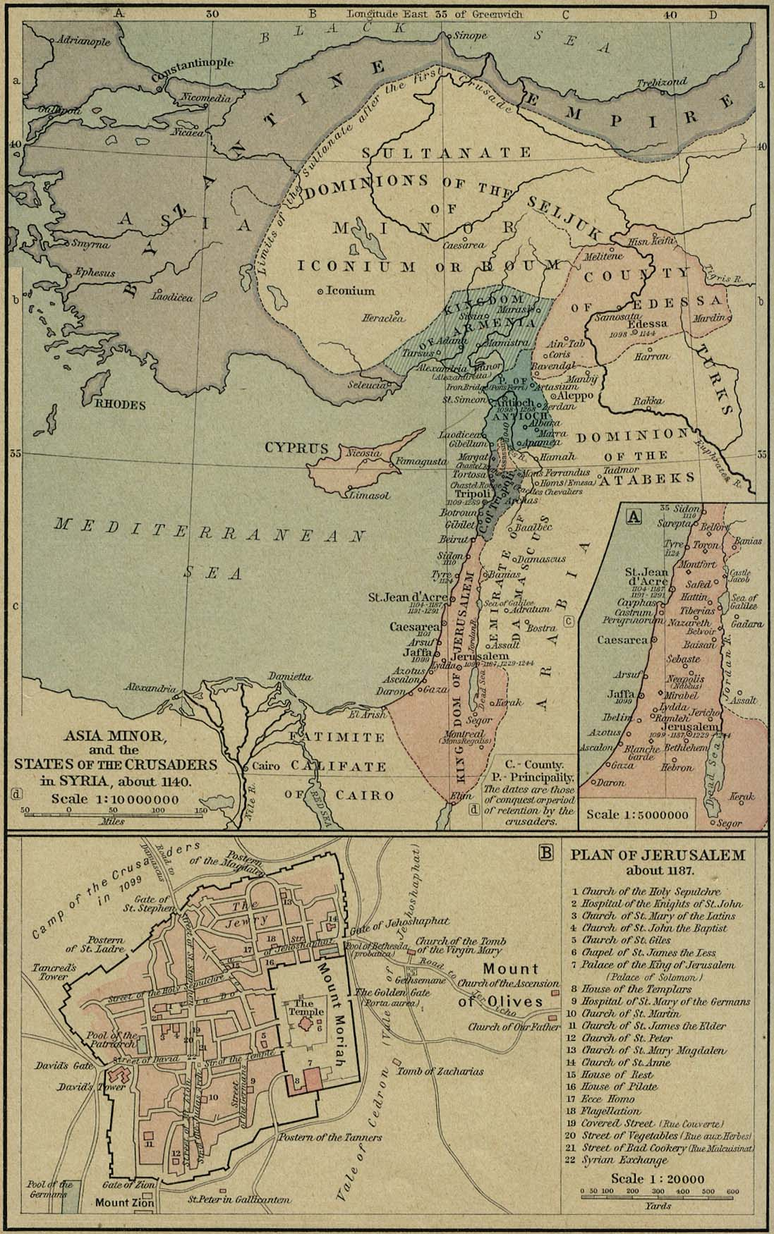 Asia Menor y los estados de los cruzados en Siria, circa 1140