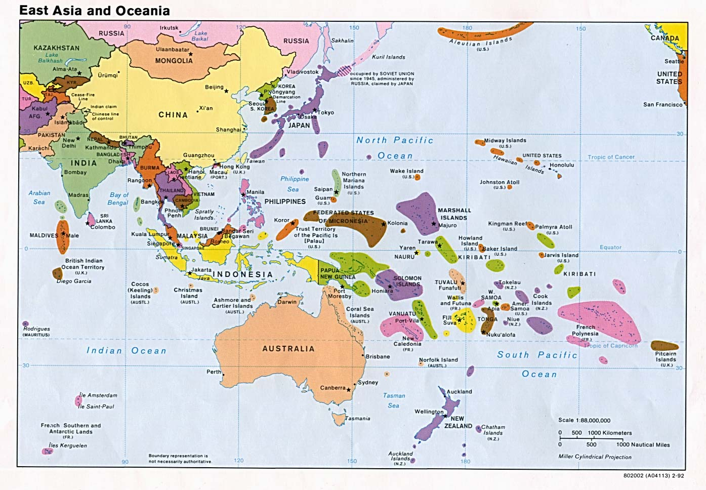 East Asia and Oceania Political 1992