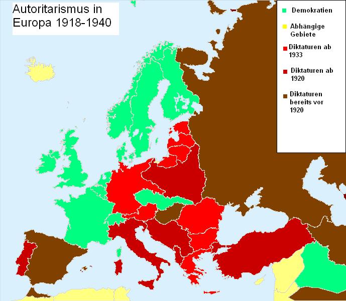 Autoritarismo en Europa de 1918 hasta 1939