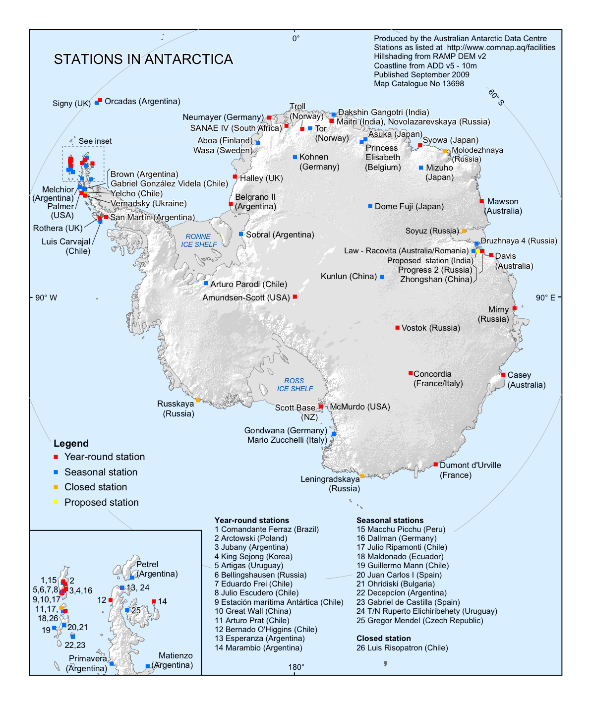 Stations in Antarctica 2009