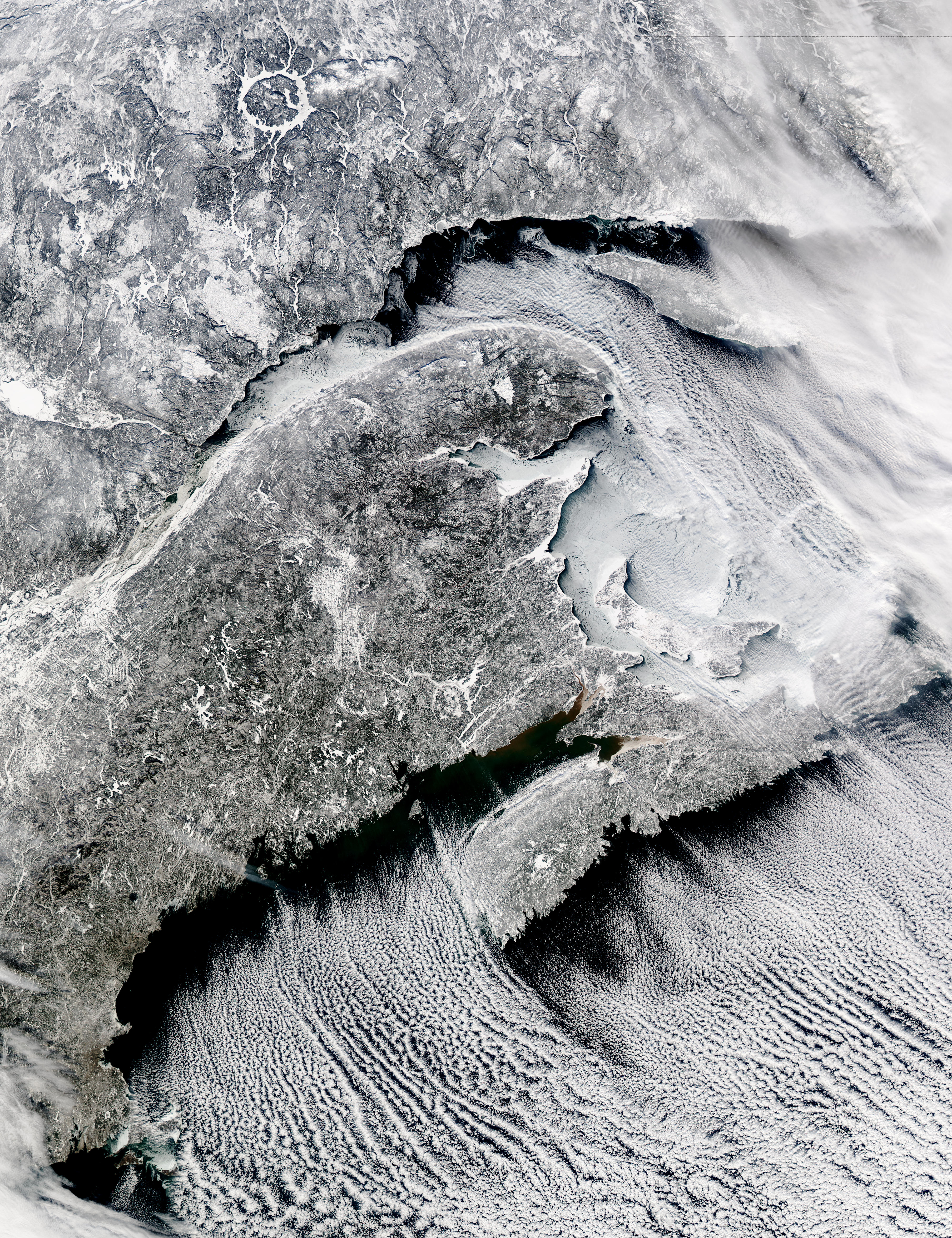 Cloud streets off Nova Scotia, Canada