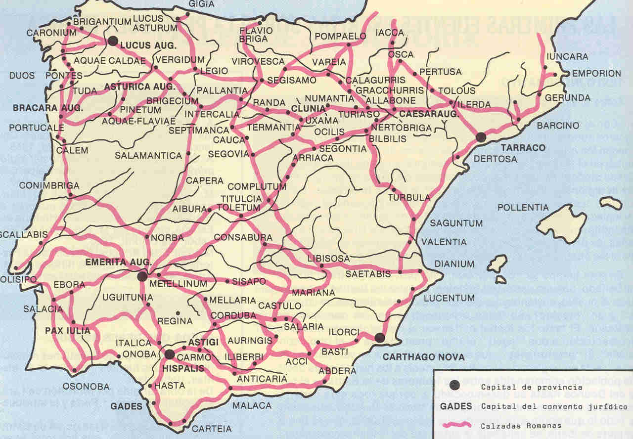 Roman roads and cities in Hispania