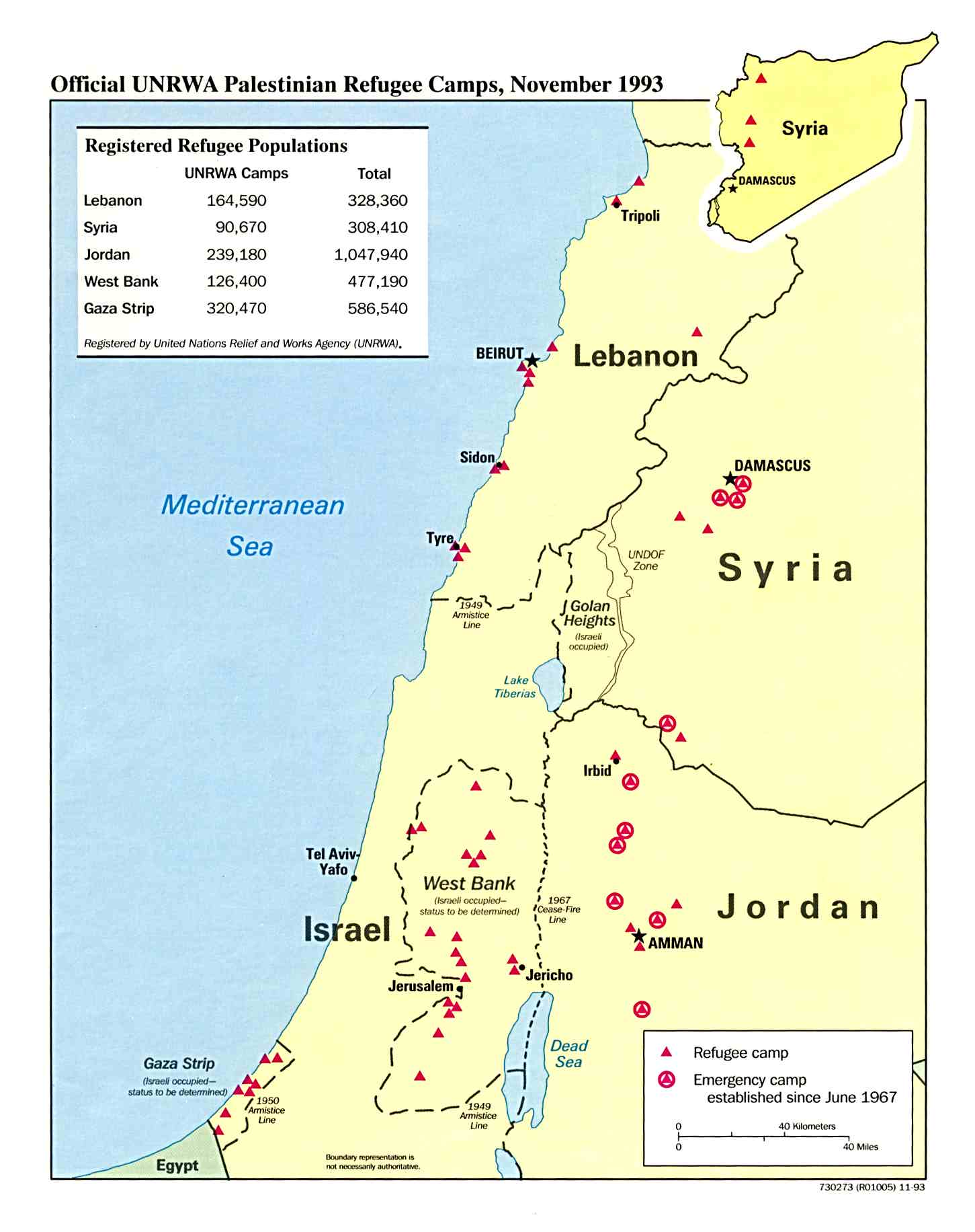 Palestinian Refugee Camps Map, Middle East