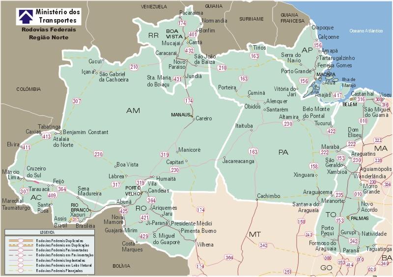 Federal Highway Map, North Region, Brazil