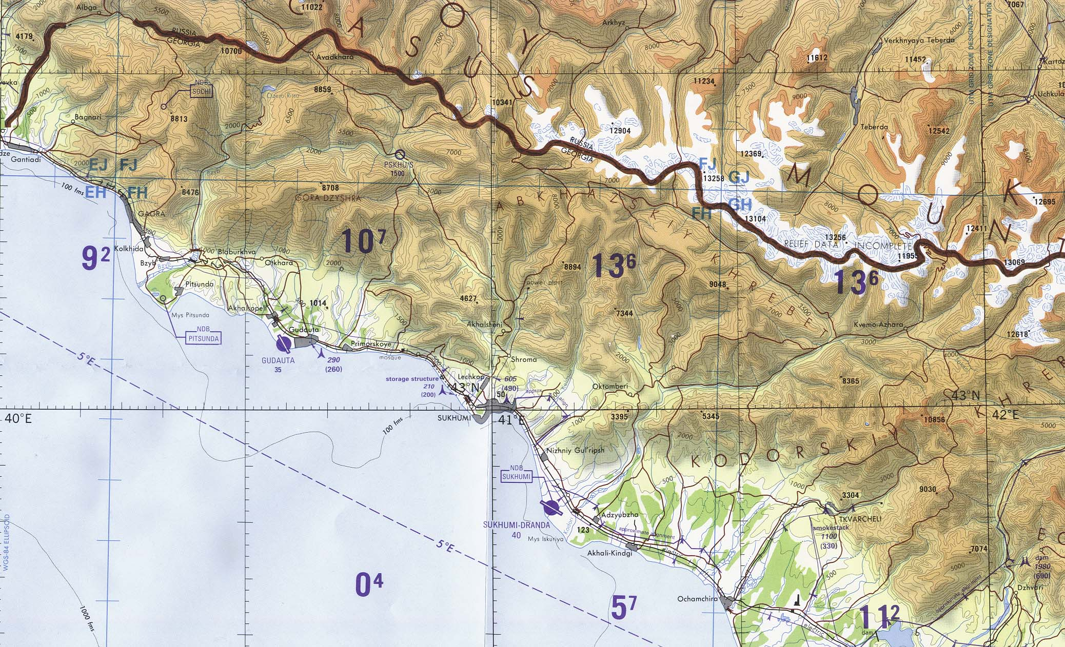 Abkhazia Region Tactical Pilotage Chart, Georgia