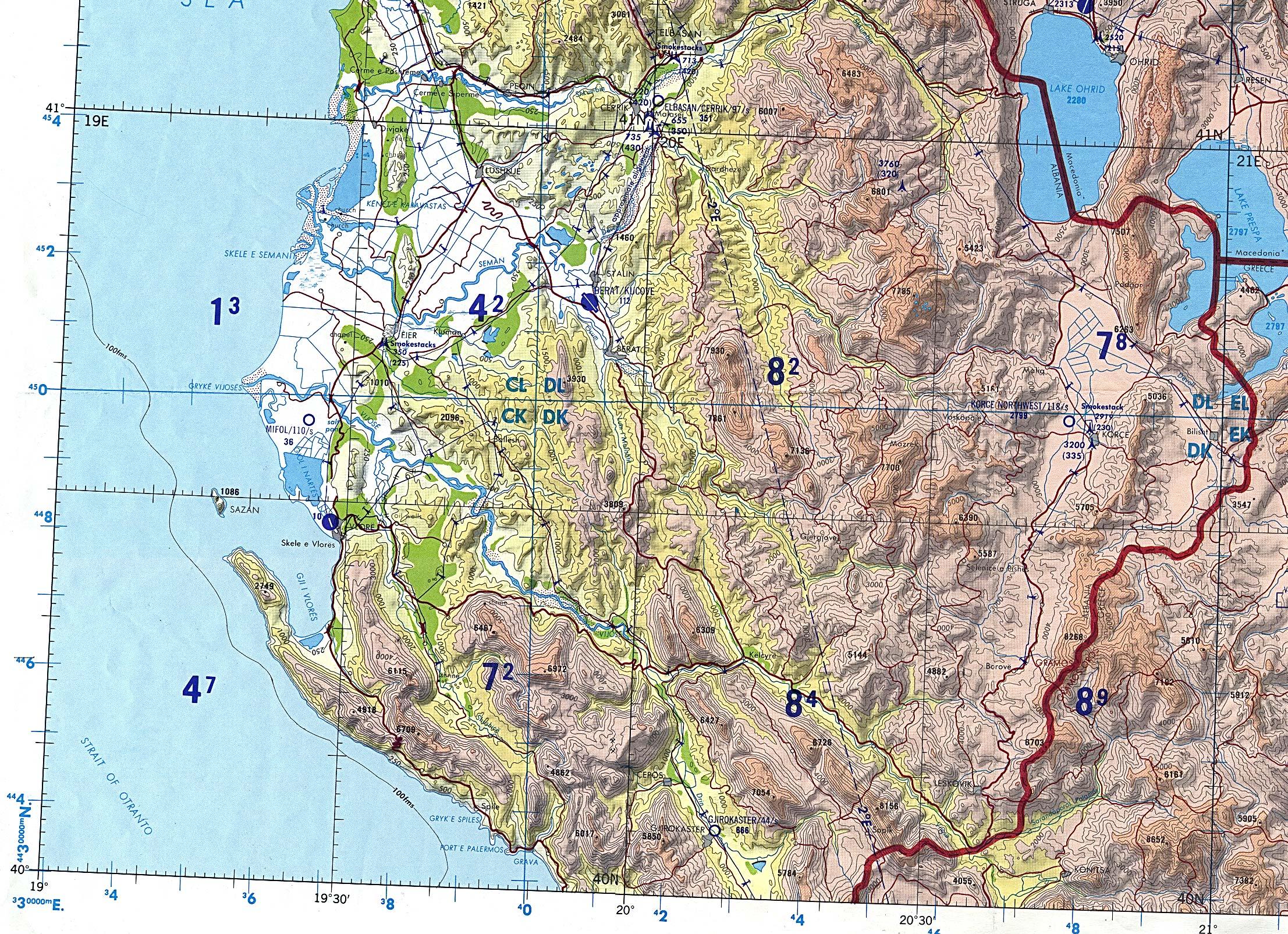 Southern Albania Tactical Pilotage Chart Original
