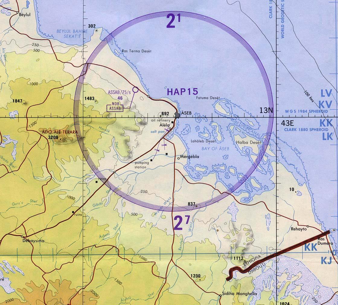 Carta Aeronáutica de Asab, Eritrea