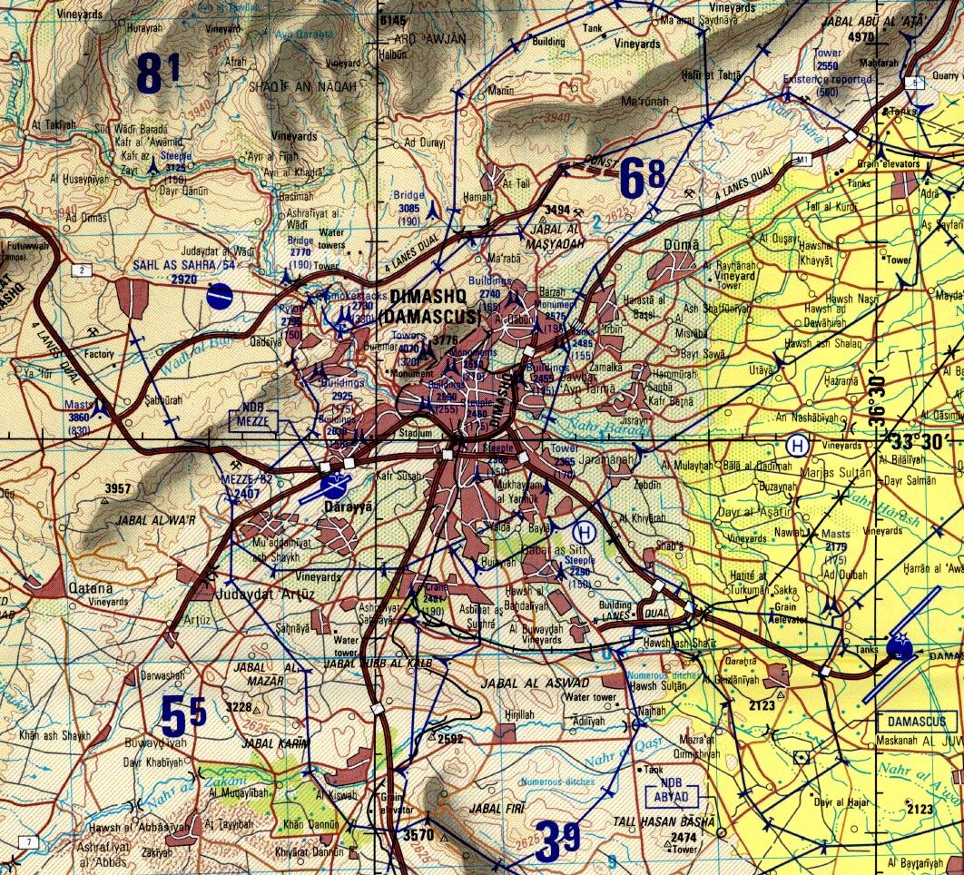 Damascus Tactical Pilotage Chart, Syria