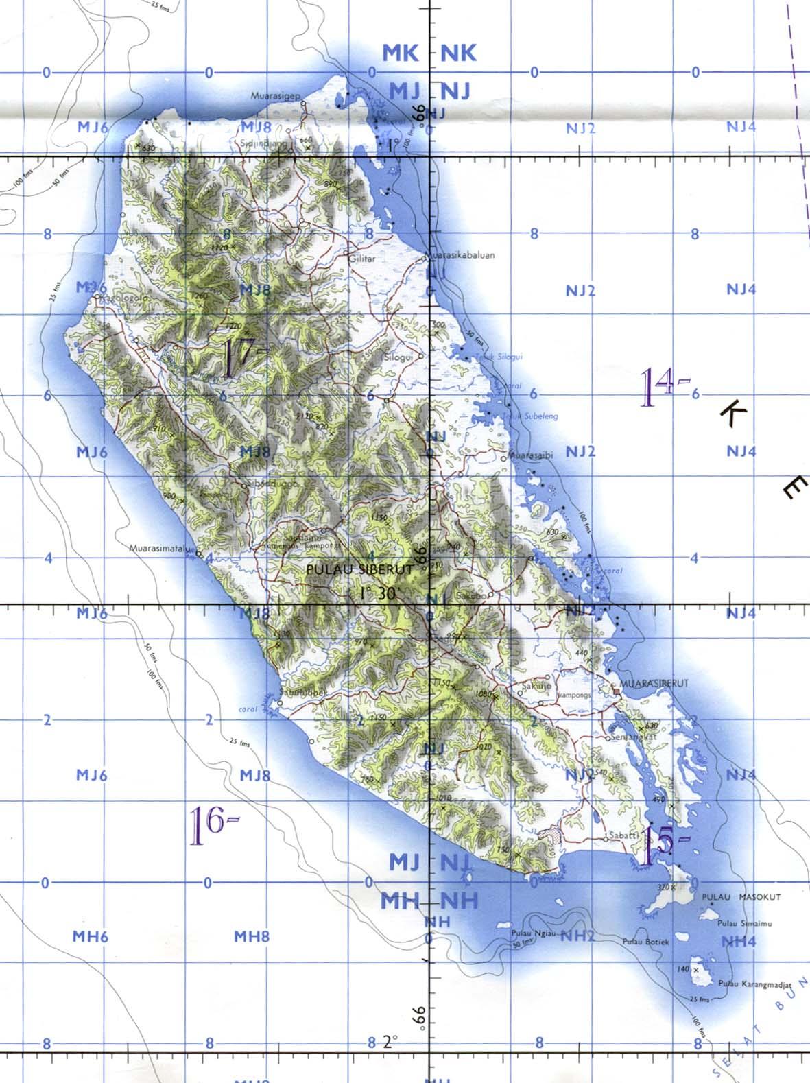 Carta Aeronáutica de la Isla de Siberut, Indonesia