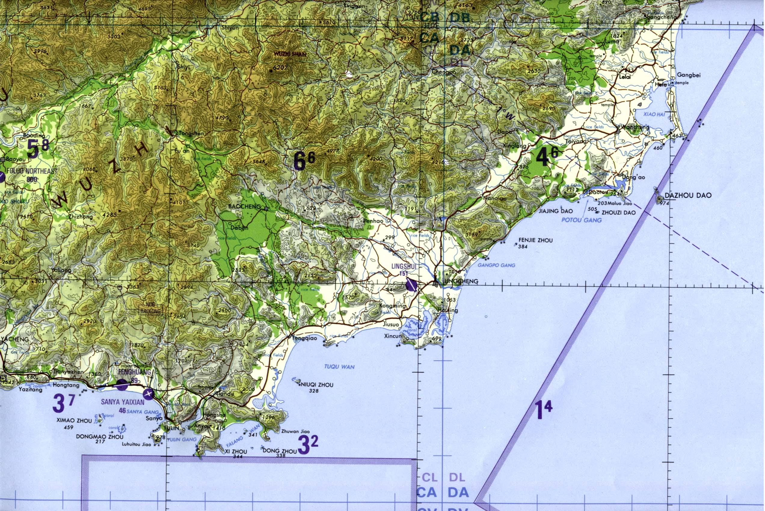 Southeastern Hainan Island Tactical Pilotage Chart, China