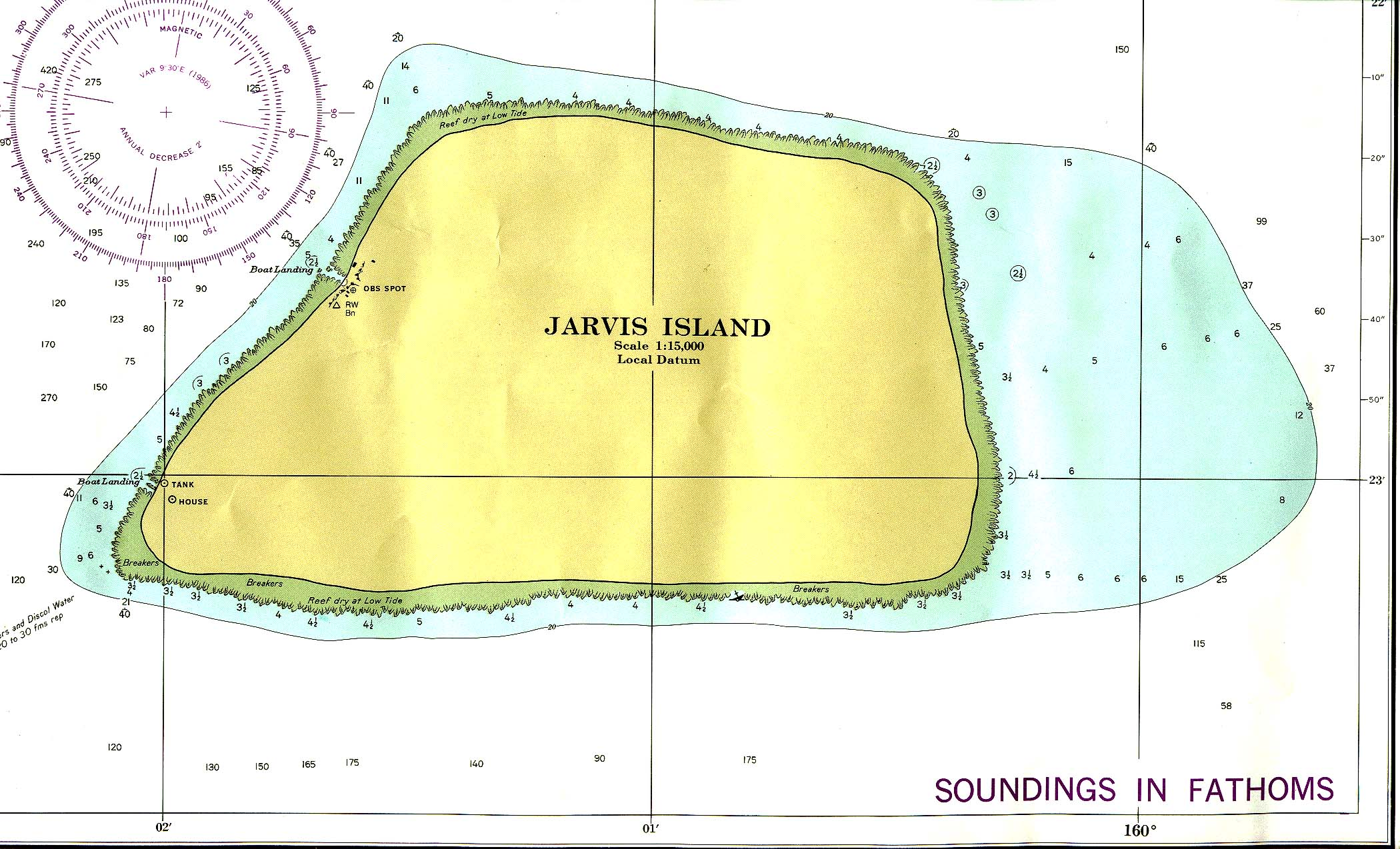 Carta Náutica de la Isla Jarvis, Estados Unidos