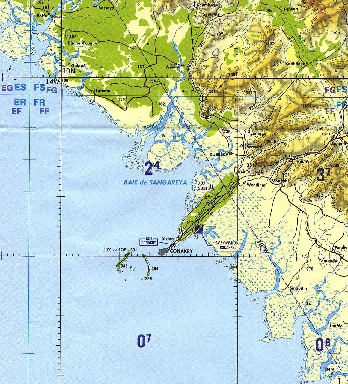 Mapa de Carta Náutica de la Región de Conakry, Guinea