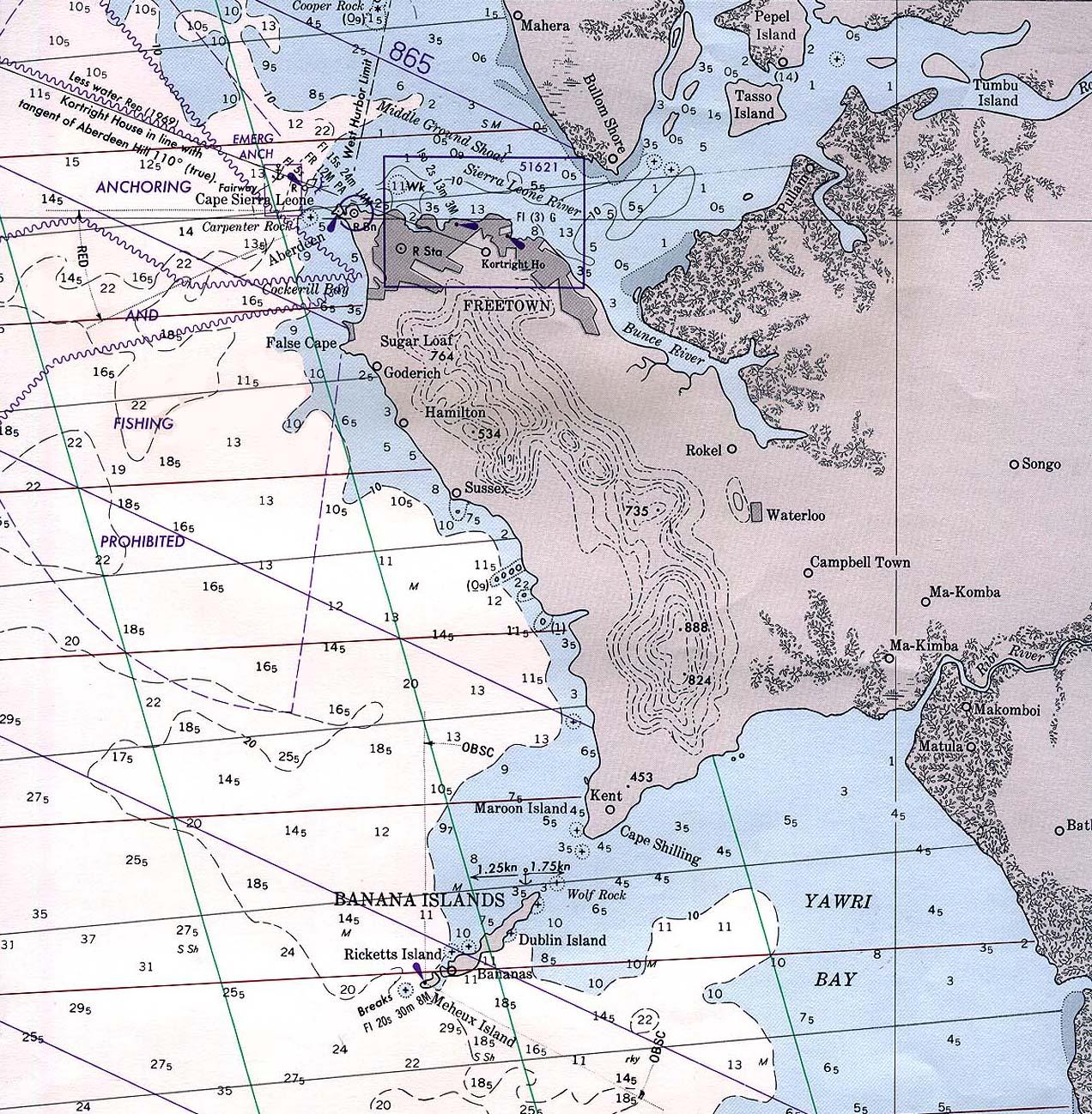 Freetown Area Nautical Chart, Sierra Leone