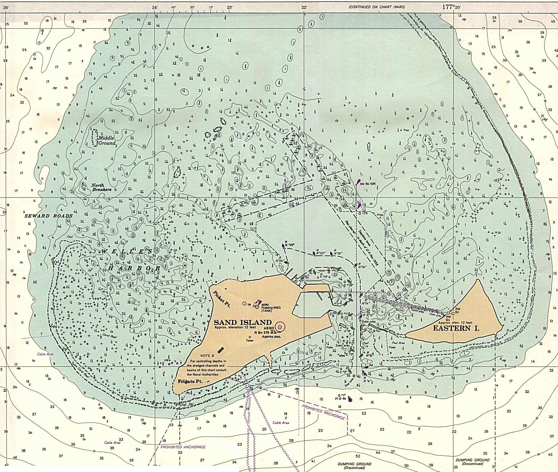 Carta Náutica de las Islas Midway, Estados Unidos