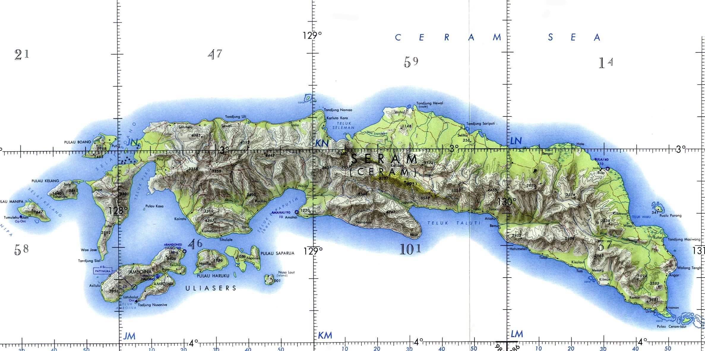 Carta Naútica de las Islas de Ceram y Ambon, Indonesia