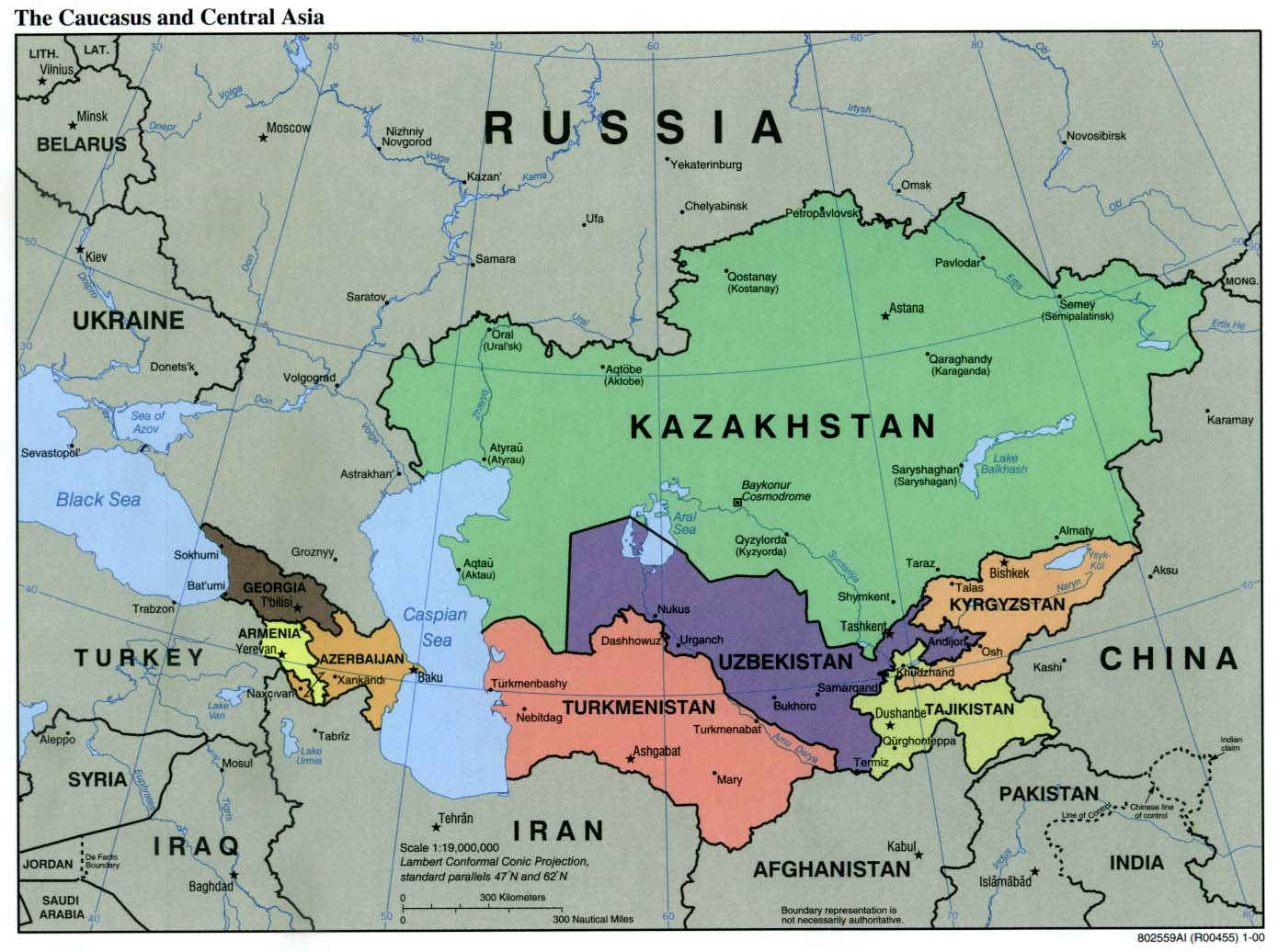 Caucasus and Central Asia Political Map 2000