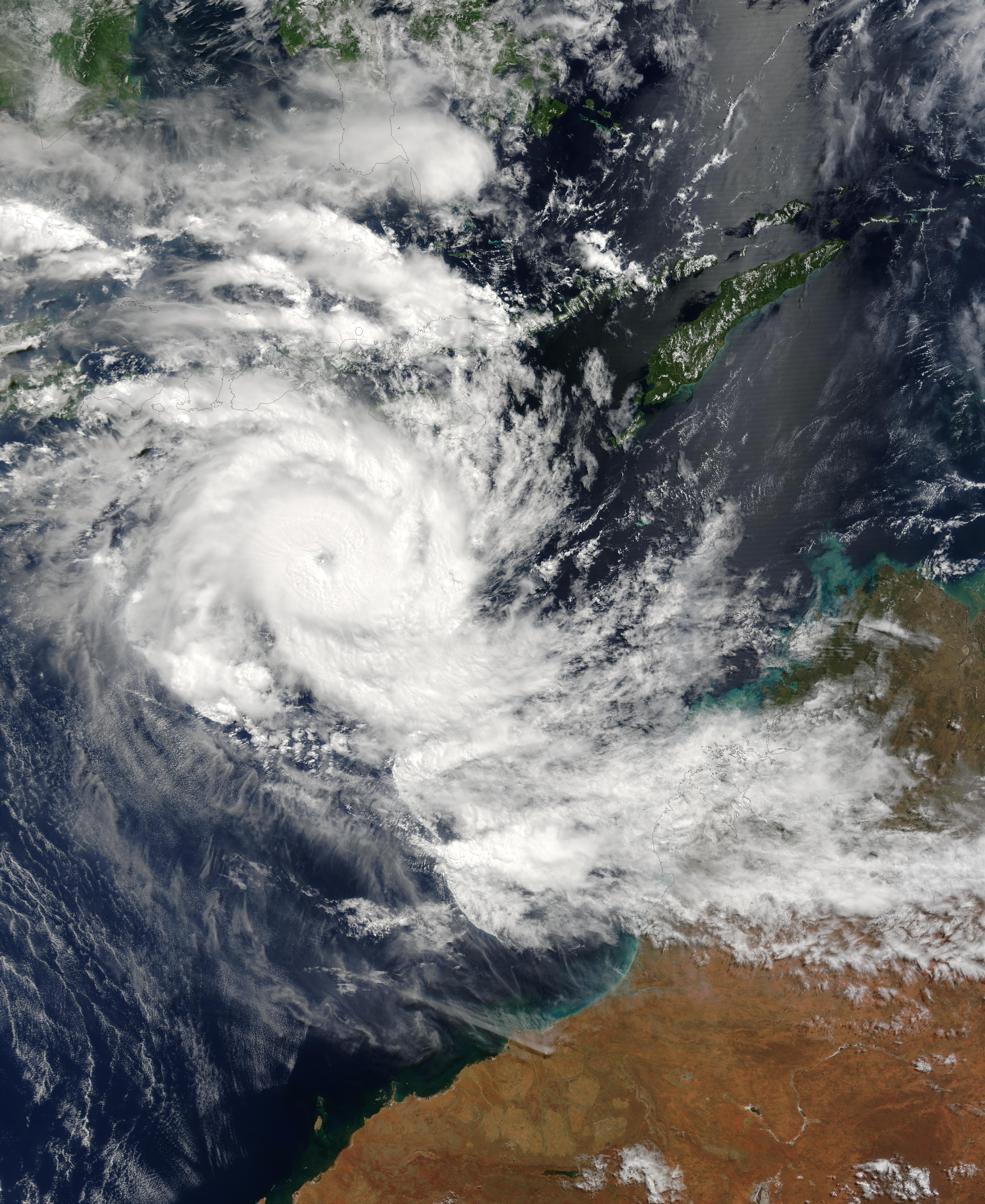 Tropical Cyclone Inigo (26S) approaching northwest Australia