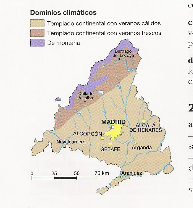 Community of Madrid climate zones