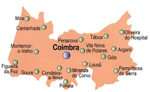 Coimbra District Map, Portugal