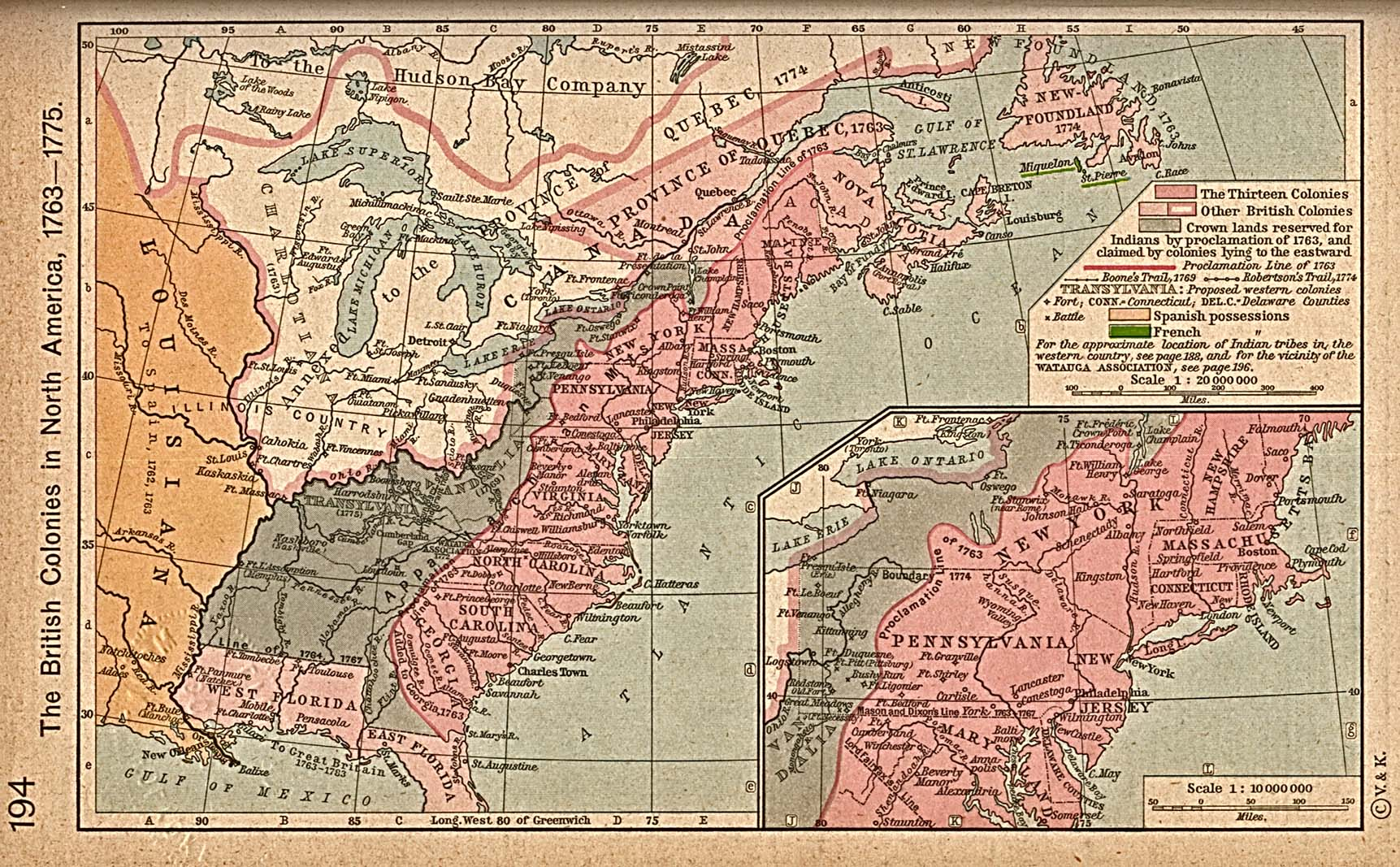 Map of the British Colonies in North America, 1763-1775