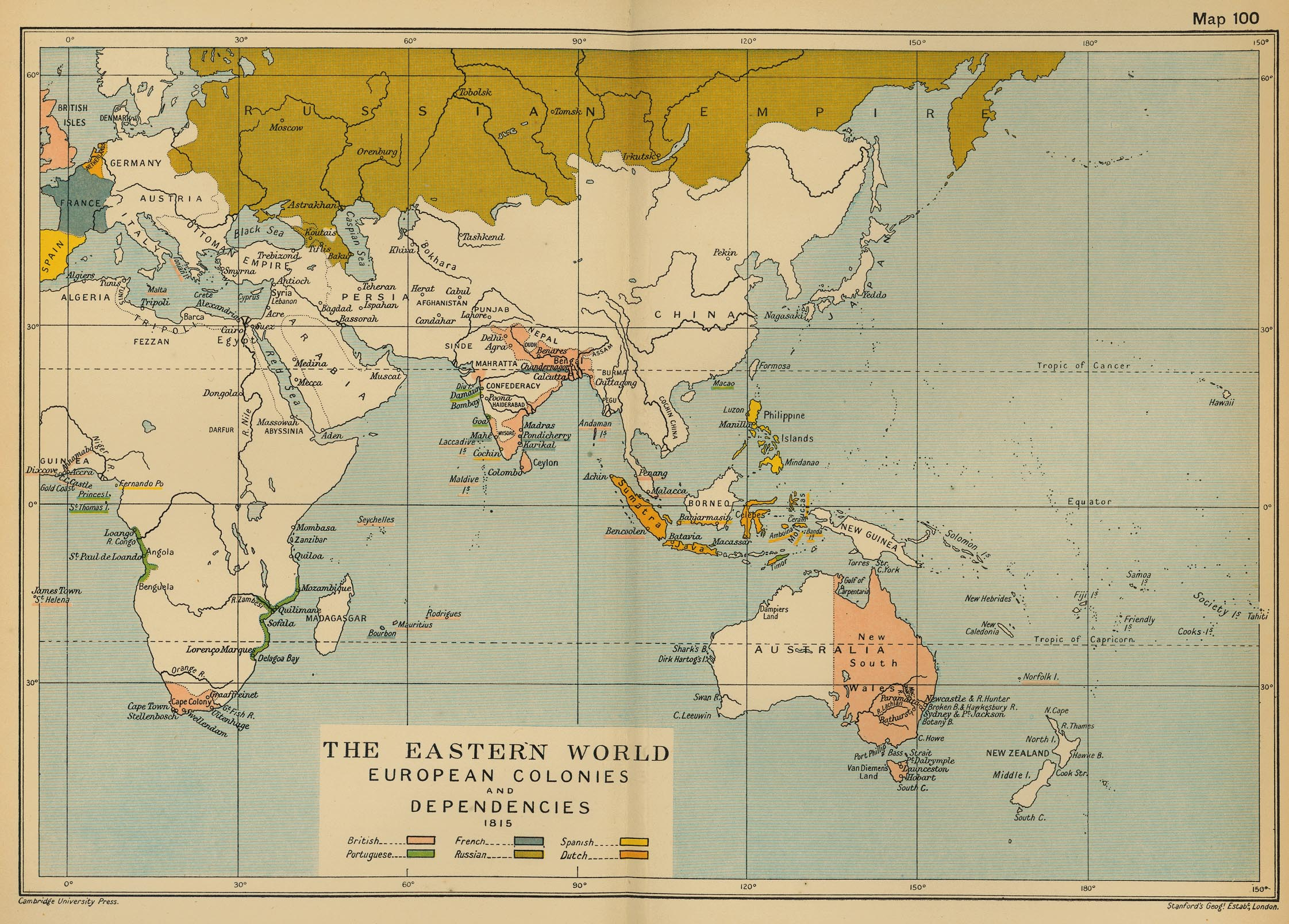 Colonias europeas en Asia y África 1815