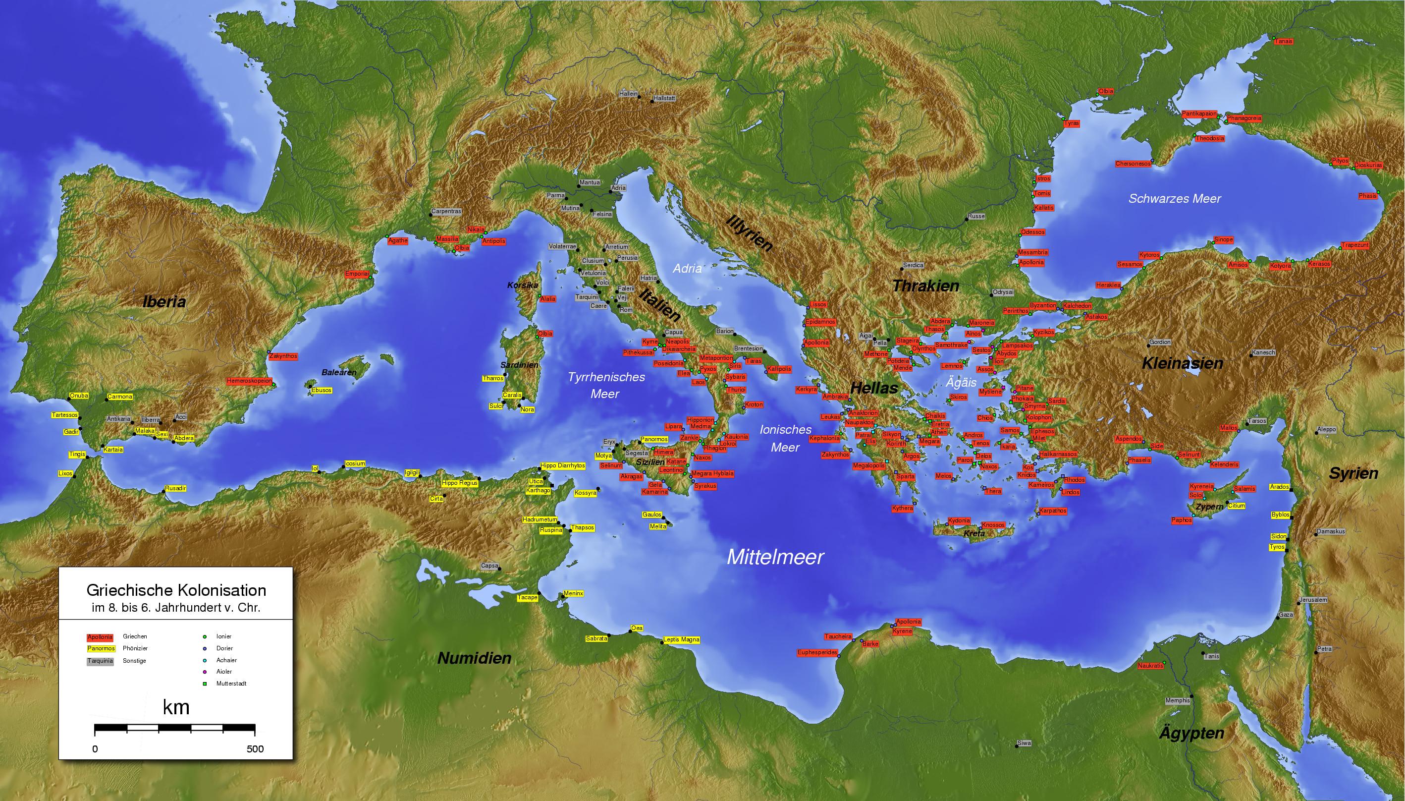 Colonización griega y fenicia, Siglo VI aC