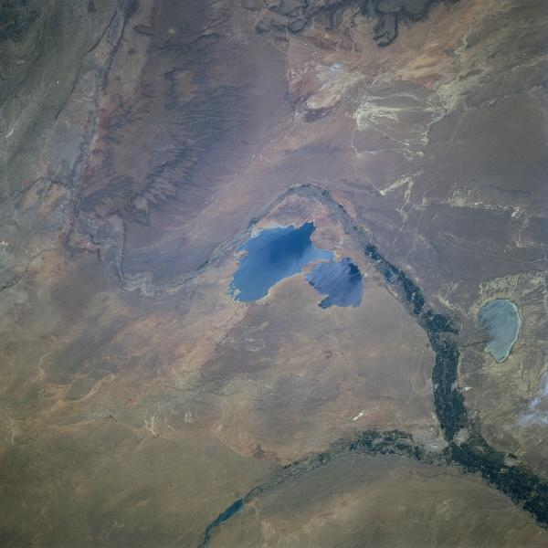 Satellite Image, Photo of Cerros Colorados Reservoir, Argentina