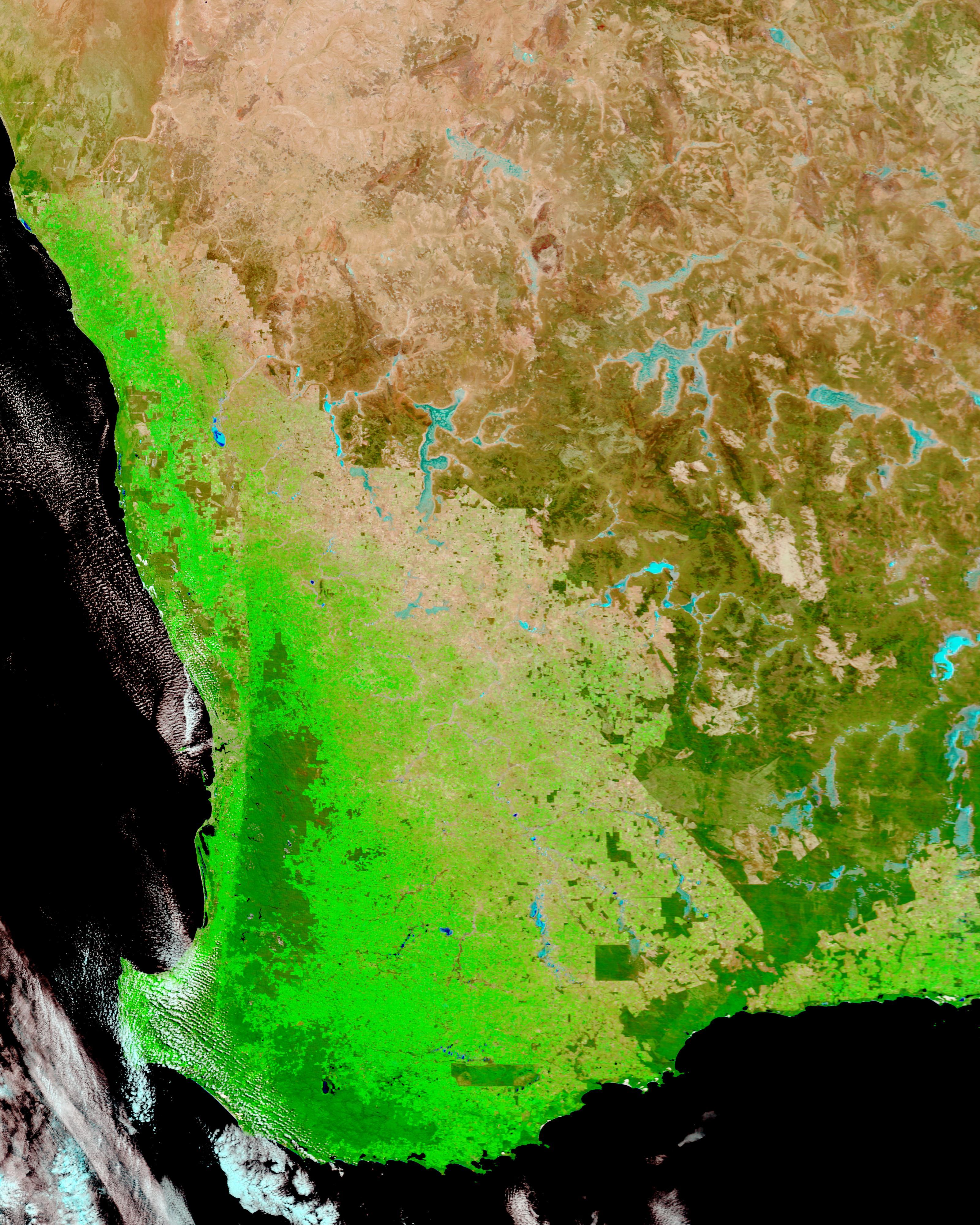 Drought conditions in Southwest Australia (false color)