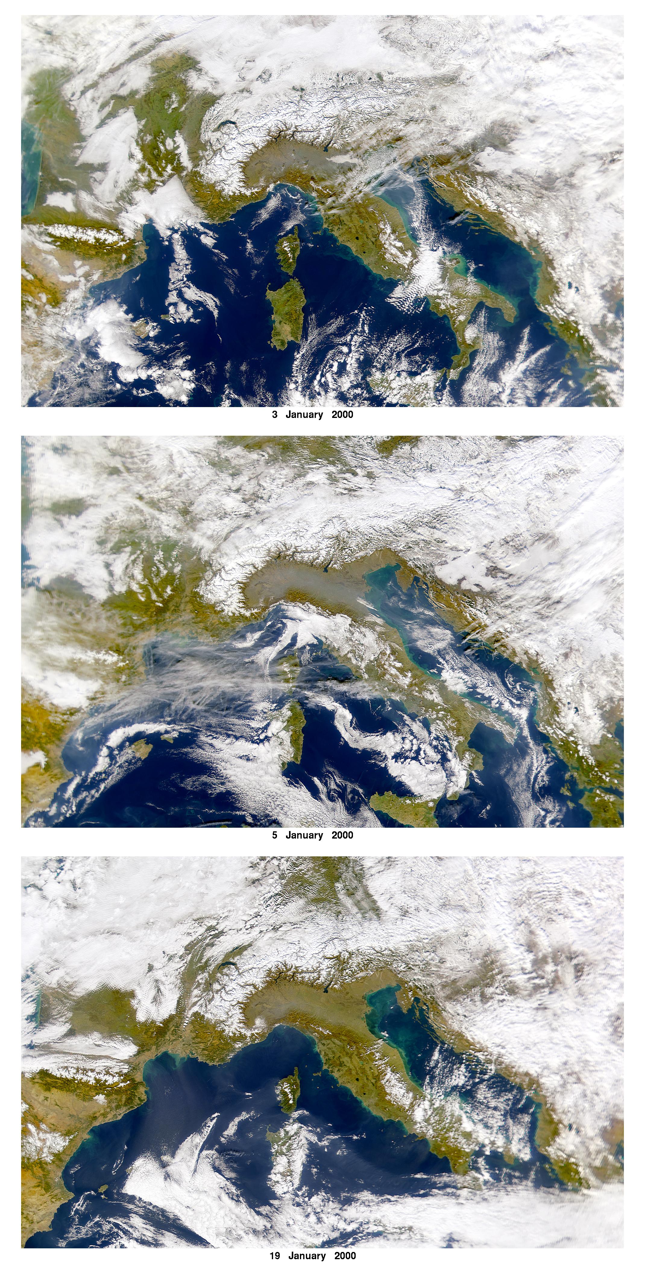 Contaminación atmosférica encima de la llanura de Lombardía