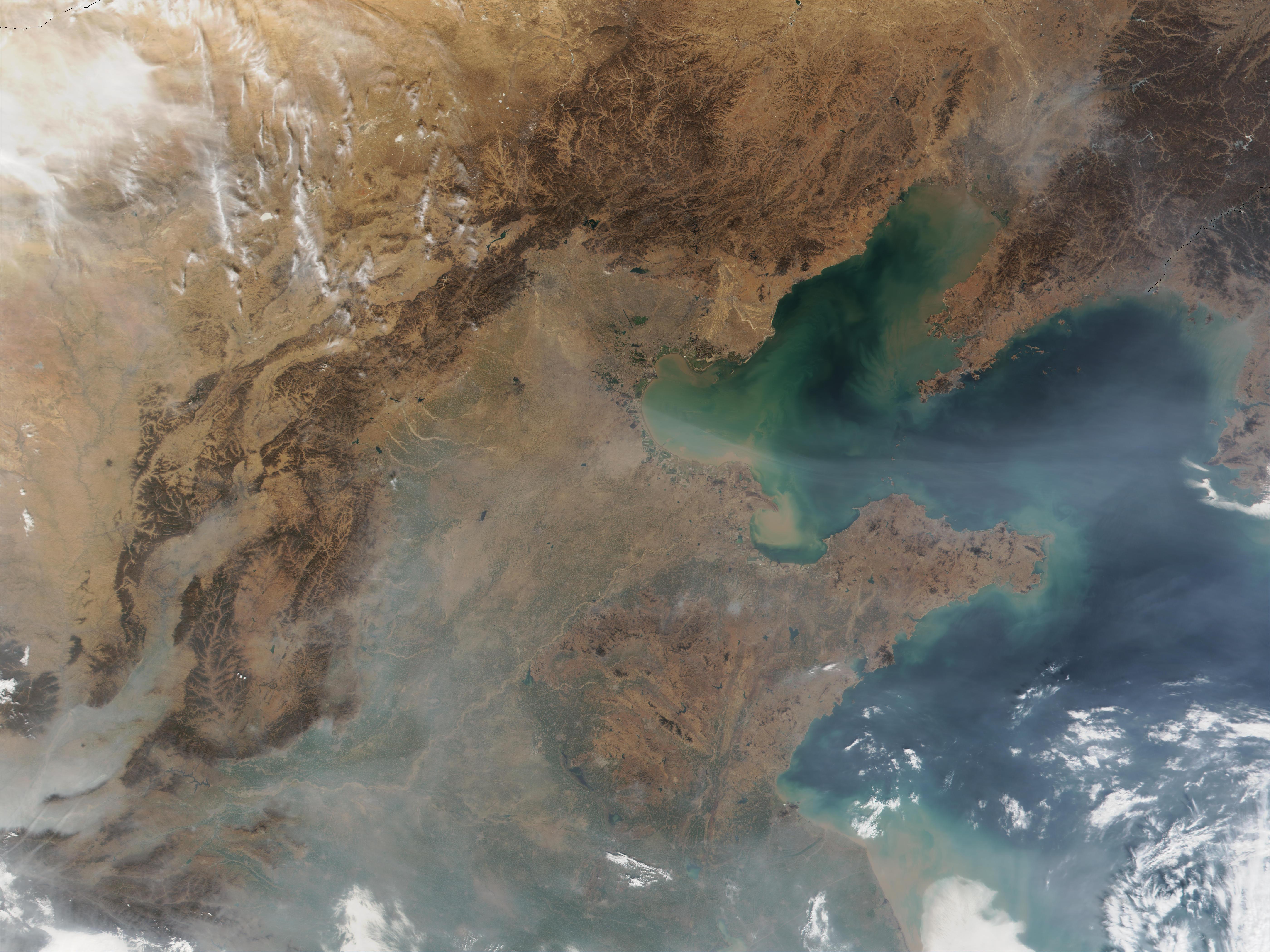 Contaminación atmosférica oscurece la costa de China