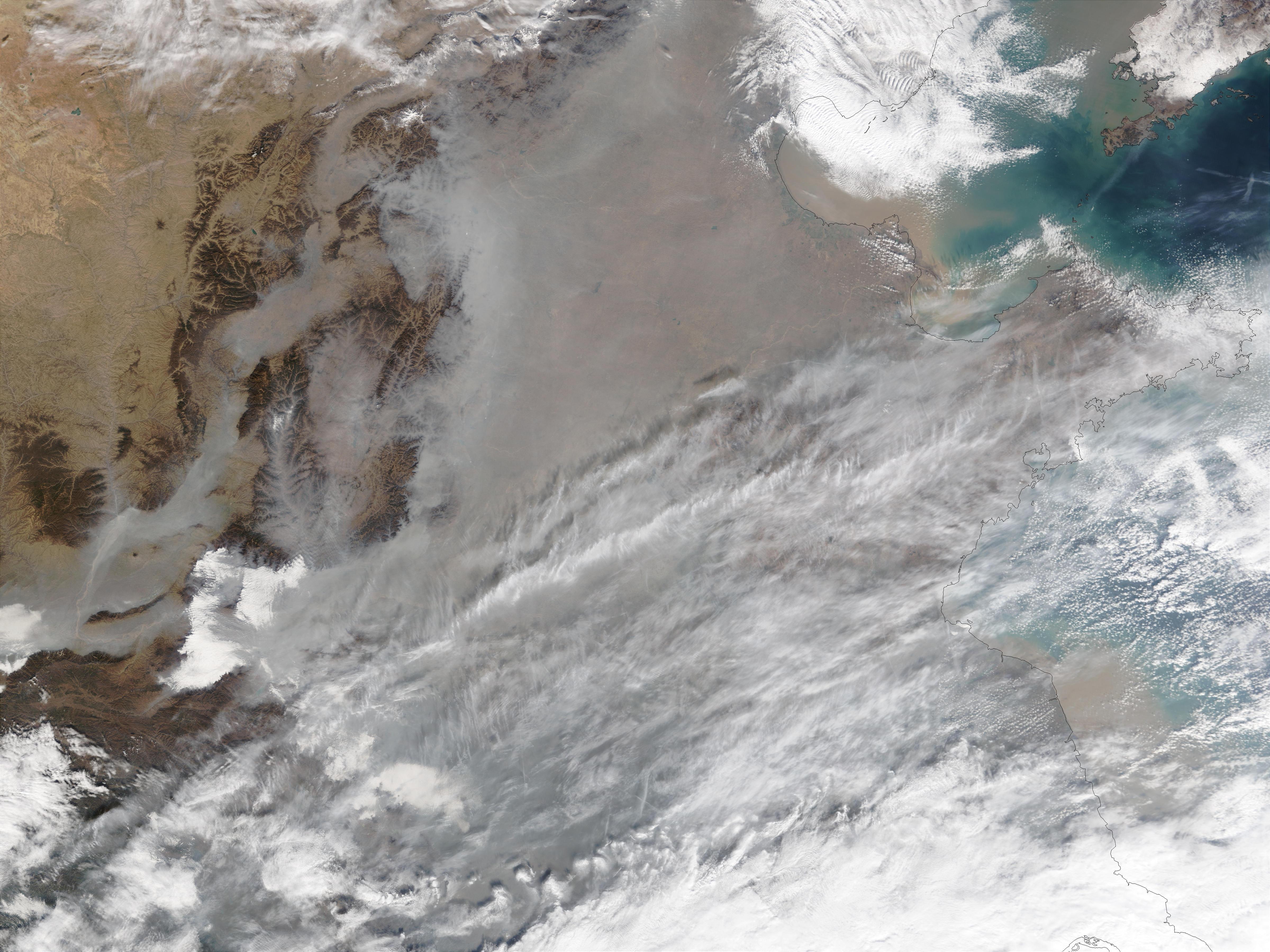 Contaminación encima de China