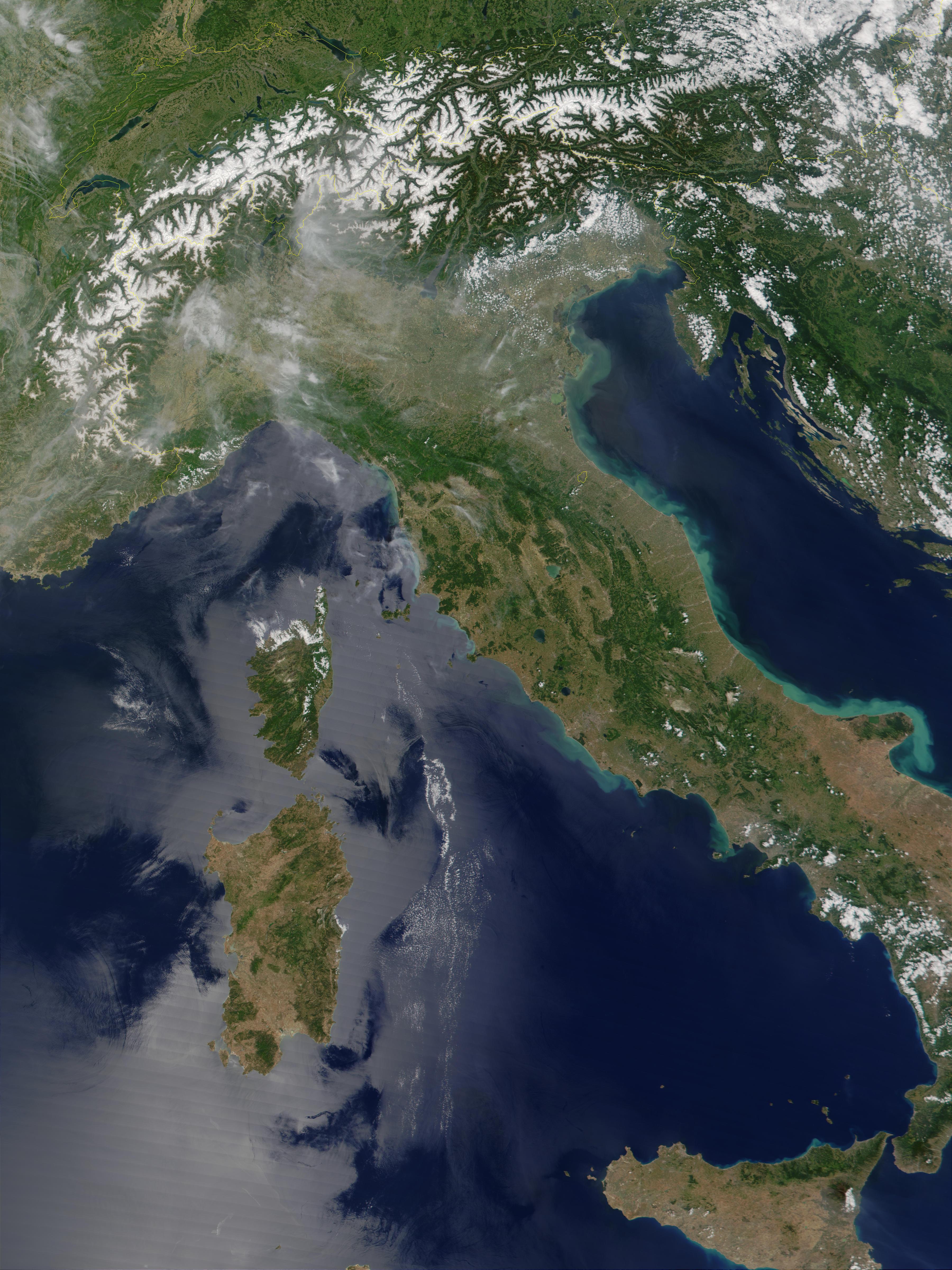 Mapa de C�rcega, Cerde�a y Italia