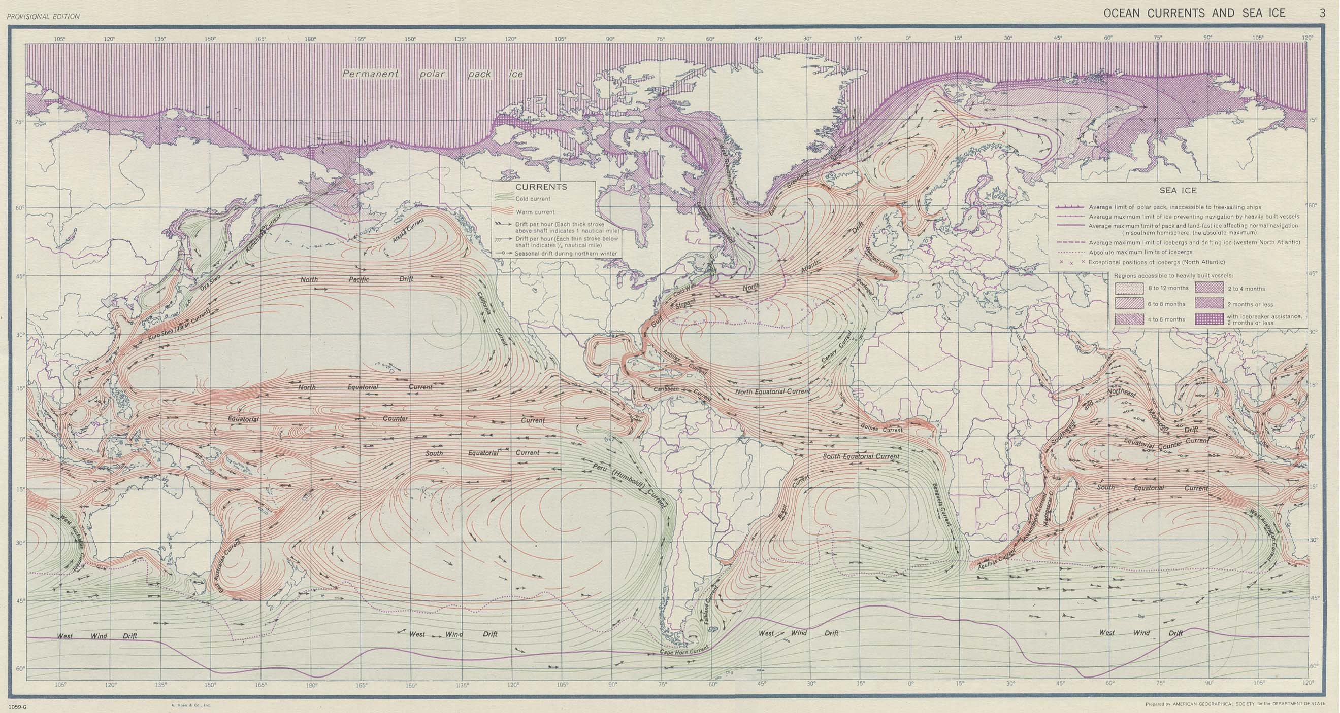 Ocean currents and sea ice 1943
