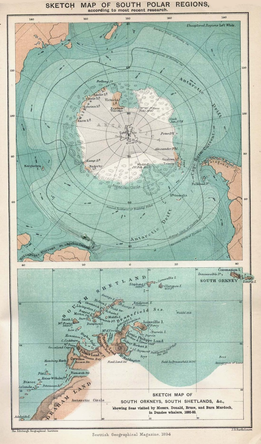Sketch map of south polar regions 1894