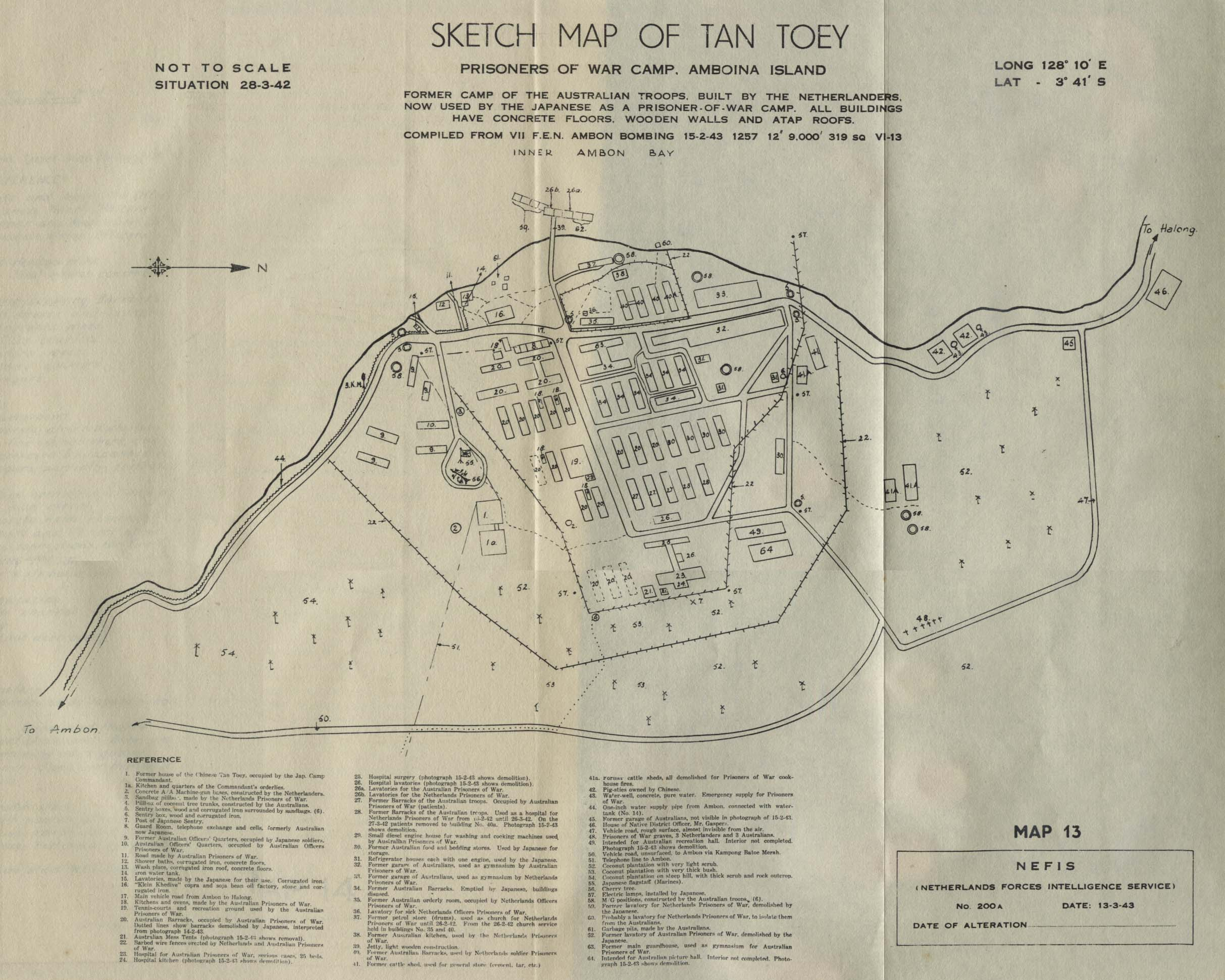 Sketch Map of Tan Toey Prisoners of War Camp, Ambon Island, Indonesia 1943