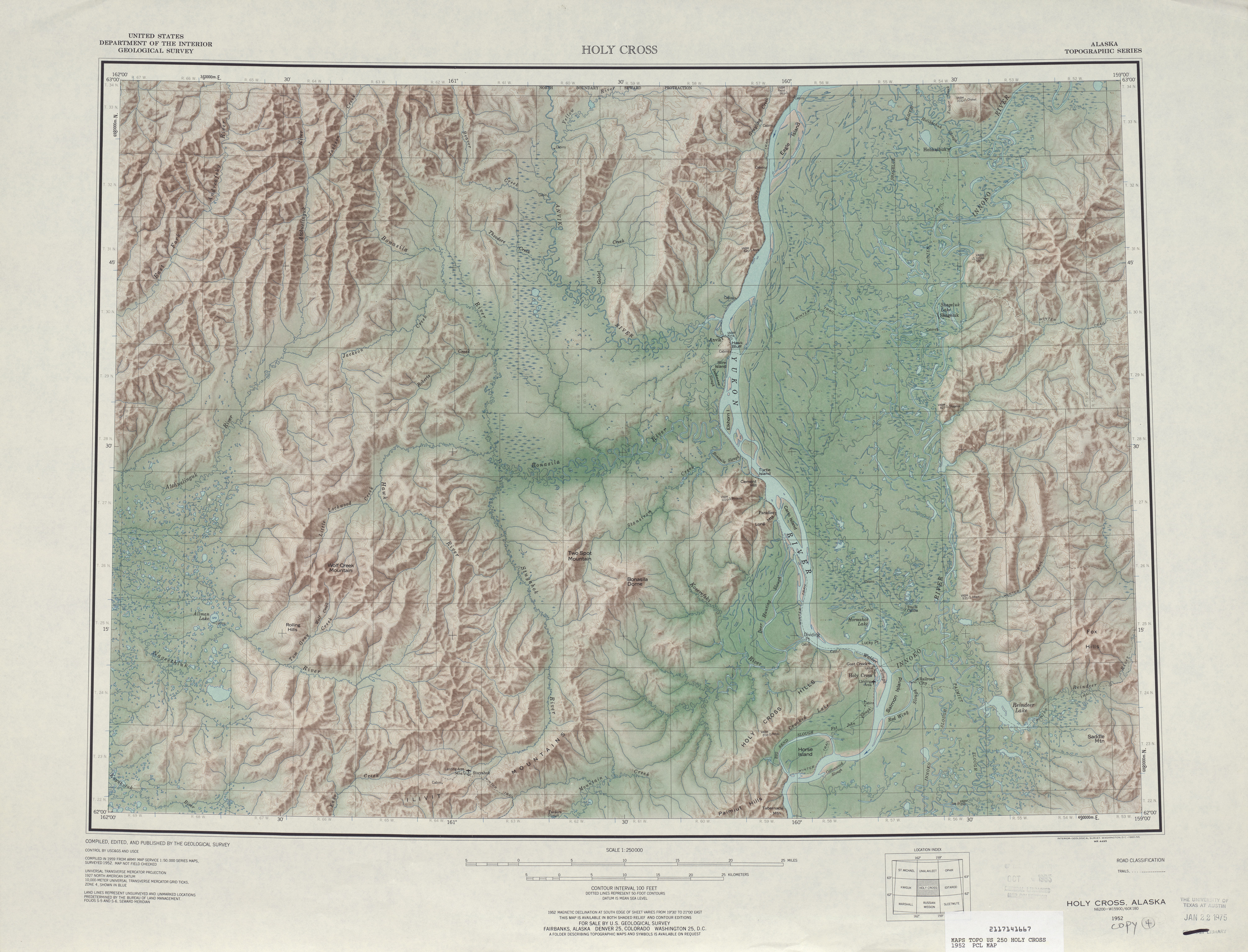 Holy Cross Shaded Relief Map Sheet, United States 1952