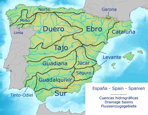 Spain drainage basins