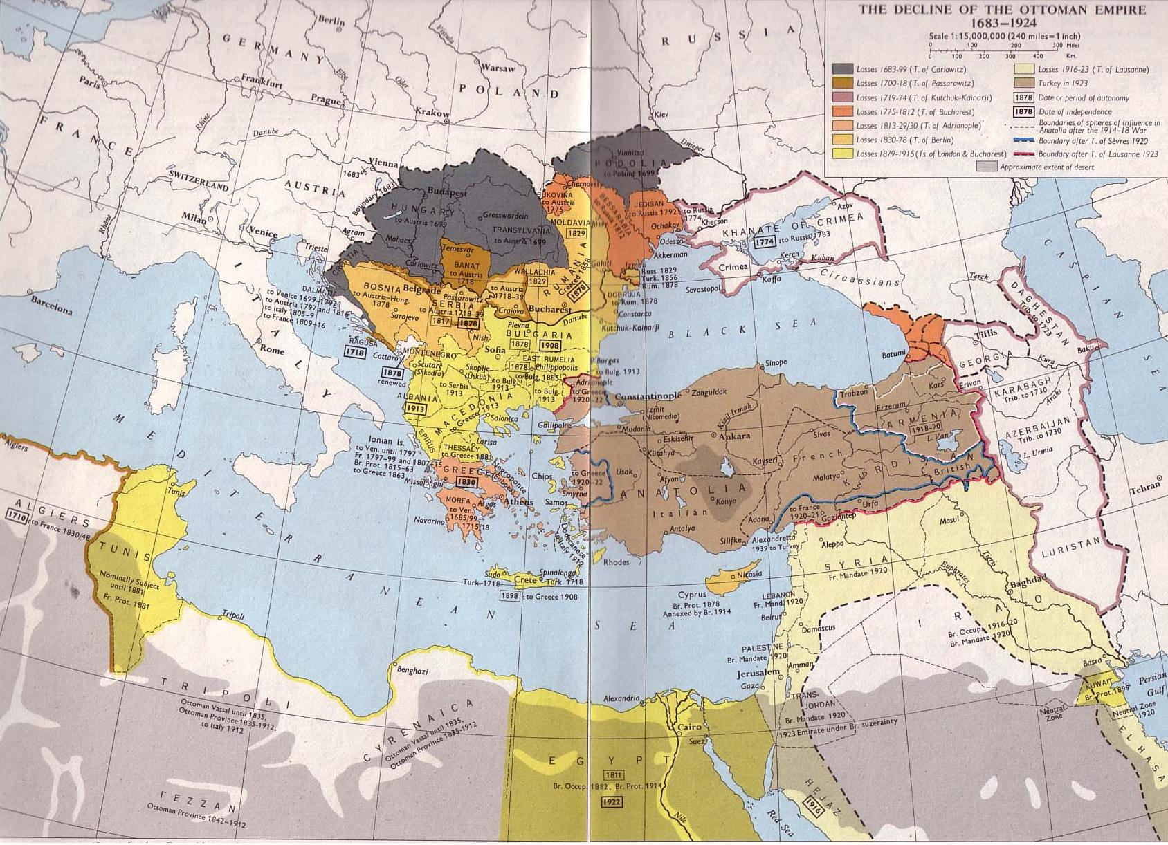The decline of the Ottoman Empire 1683-1924