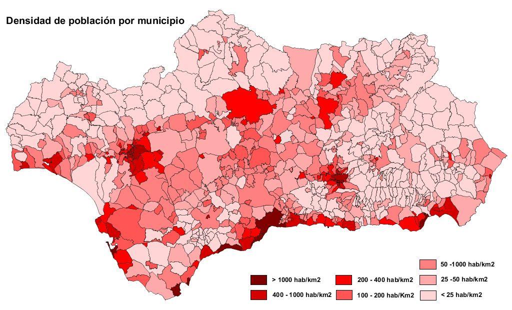 Densidad de población de Andalucía 2007