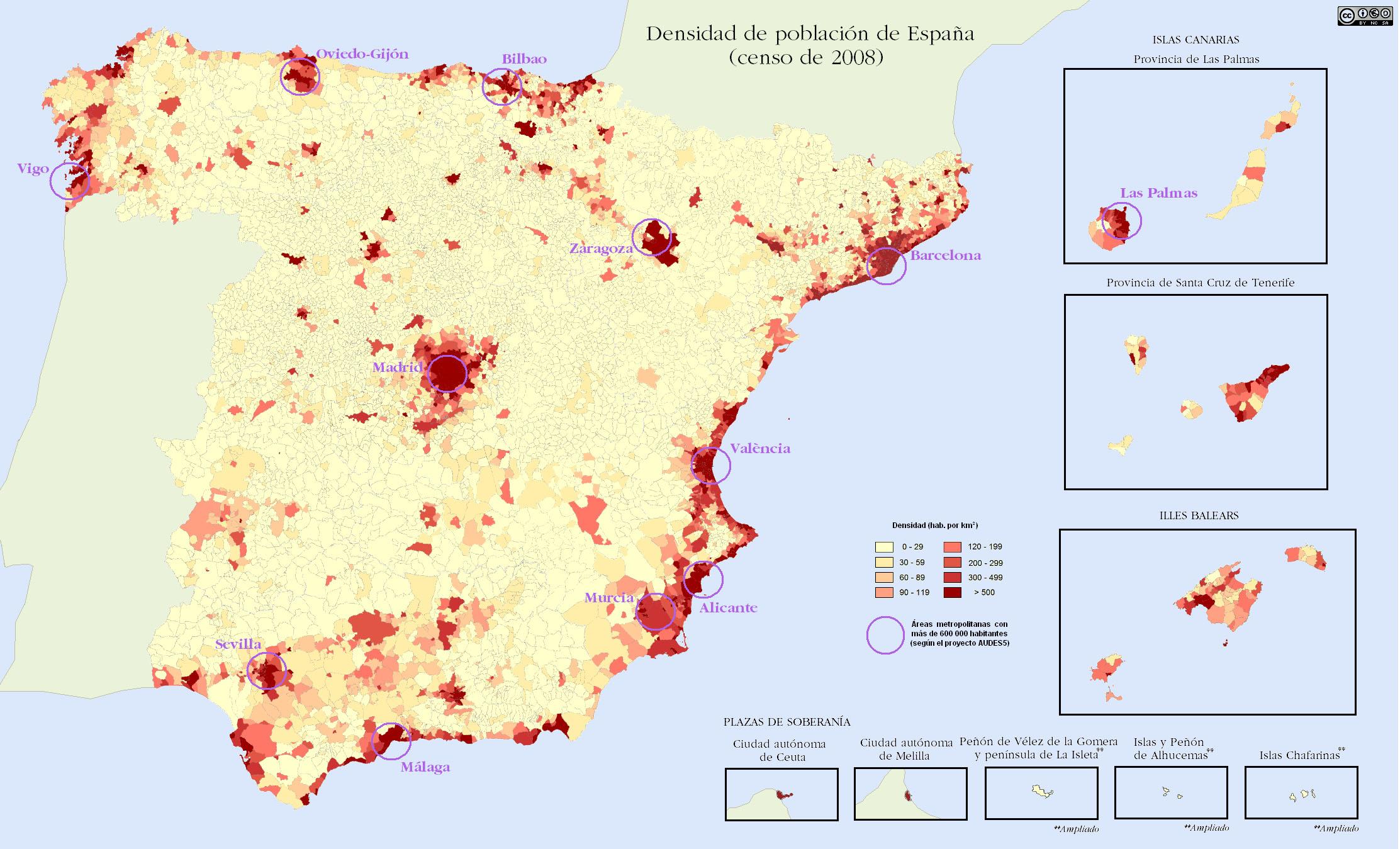 Densidad de población en España 2009